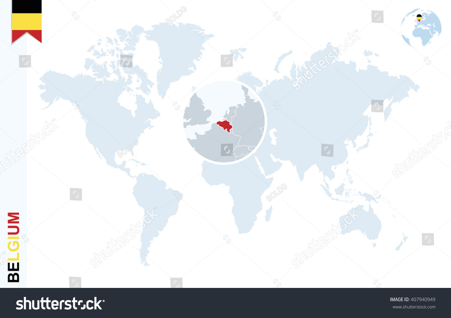 World Map Magnifying On Belgium Blue Vector 407940949 – Belgium on a World Map