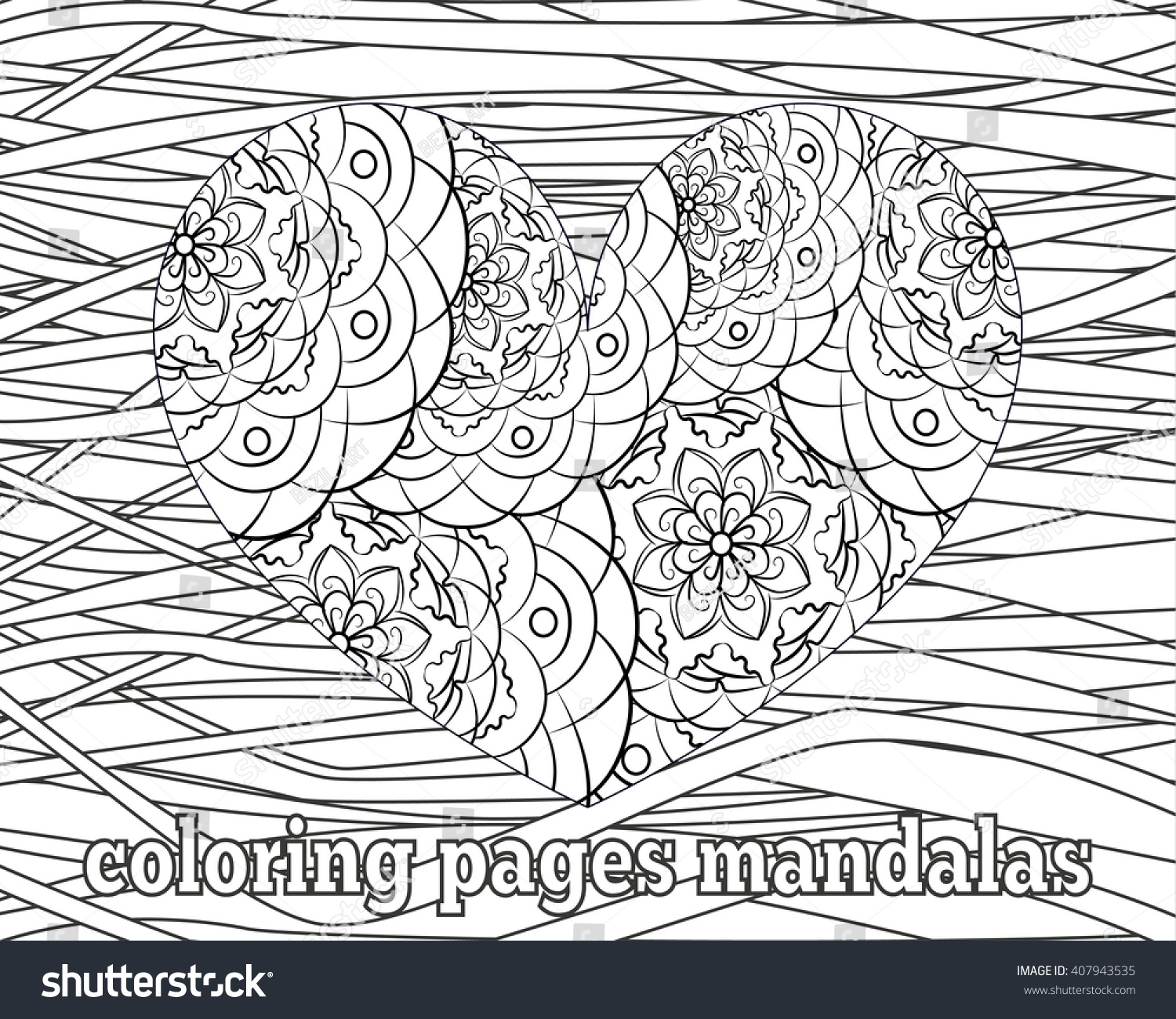 Coloring Pages Adults Older Children Heart Stock Vector 407943535 ...