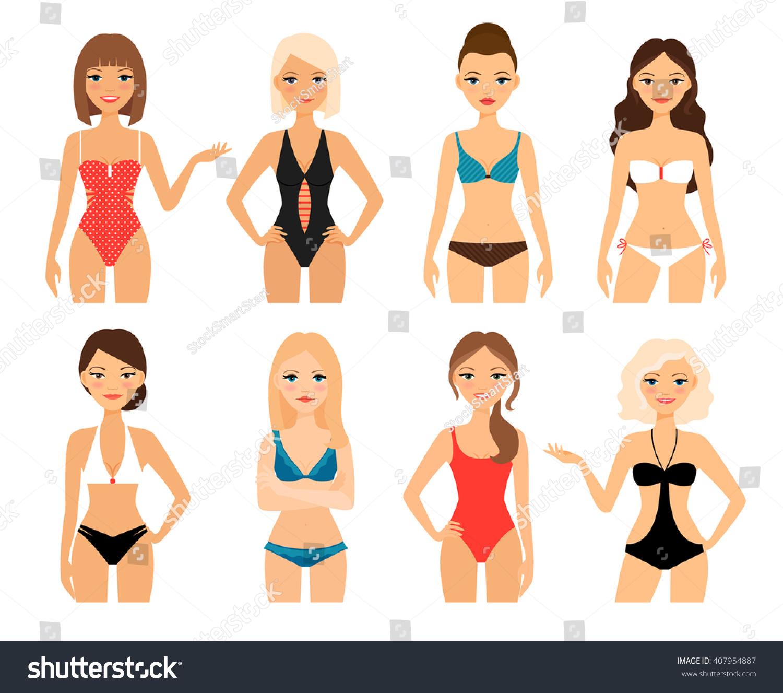 Women Swimsuit Beautiful Girls Bathing Suits Stock Vector ...