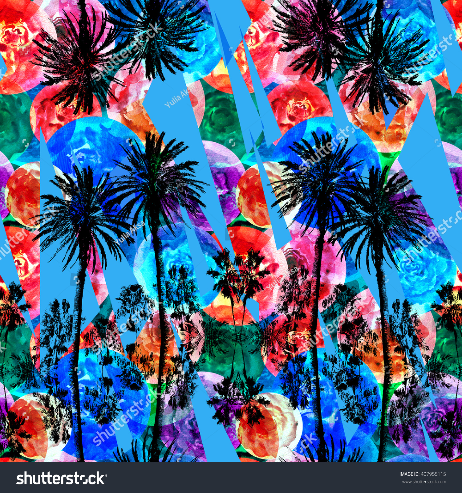 Palm Patterns Tropical Backgrounds Black Silhouette Palm Trees On A