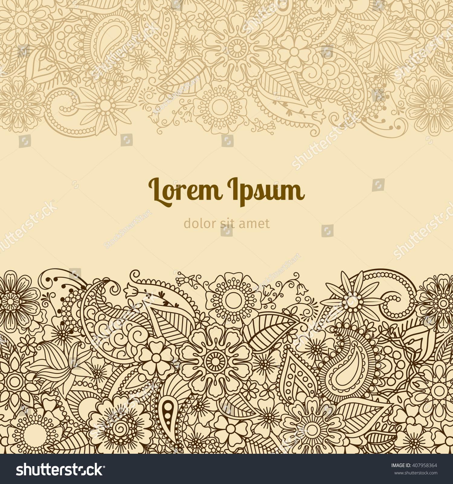 Henna Mehndi Card Template Mehndi Invitation Stock Vector 407958364 ...