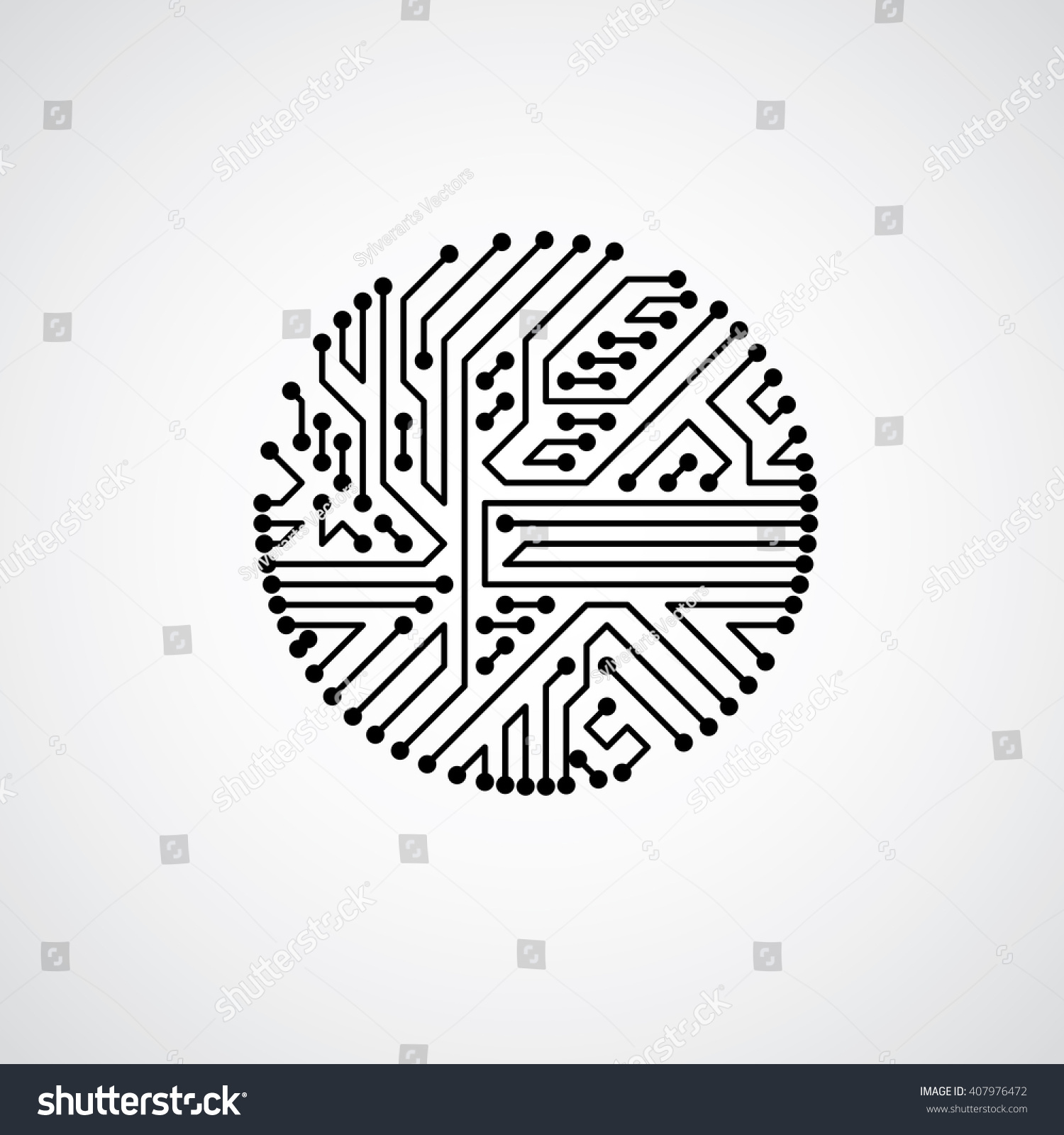 Vector Abstract Computer Circuit Board Illustration Stock Monochrome Round Technology Element With Connections Electronics Theme