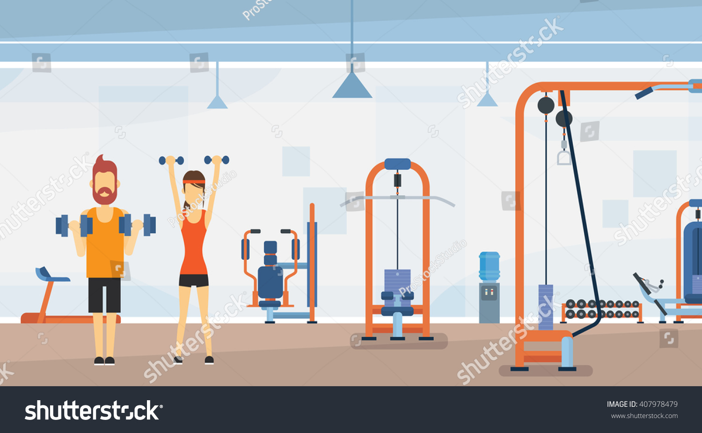 Sport fitness man woman lifting weight stock vector