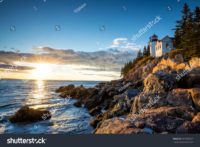 Bass Harbor Lighthouse at sunset Acadia National Park, Maine USA
