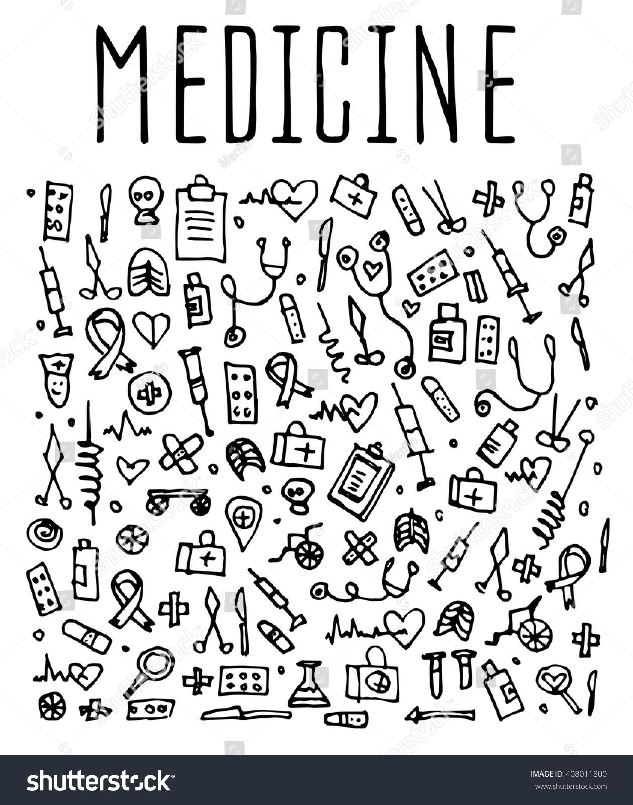 Hand Drawn Medicine Elements Seamless Logo Vector de stock (libre de ...