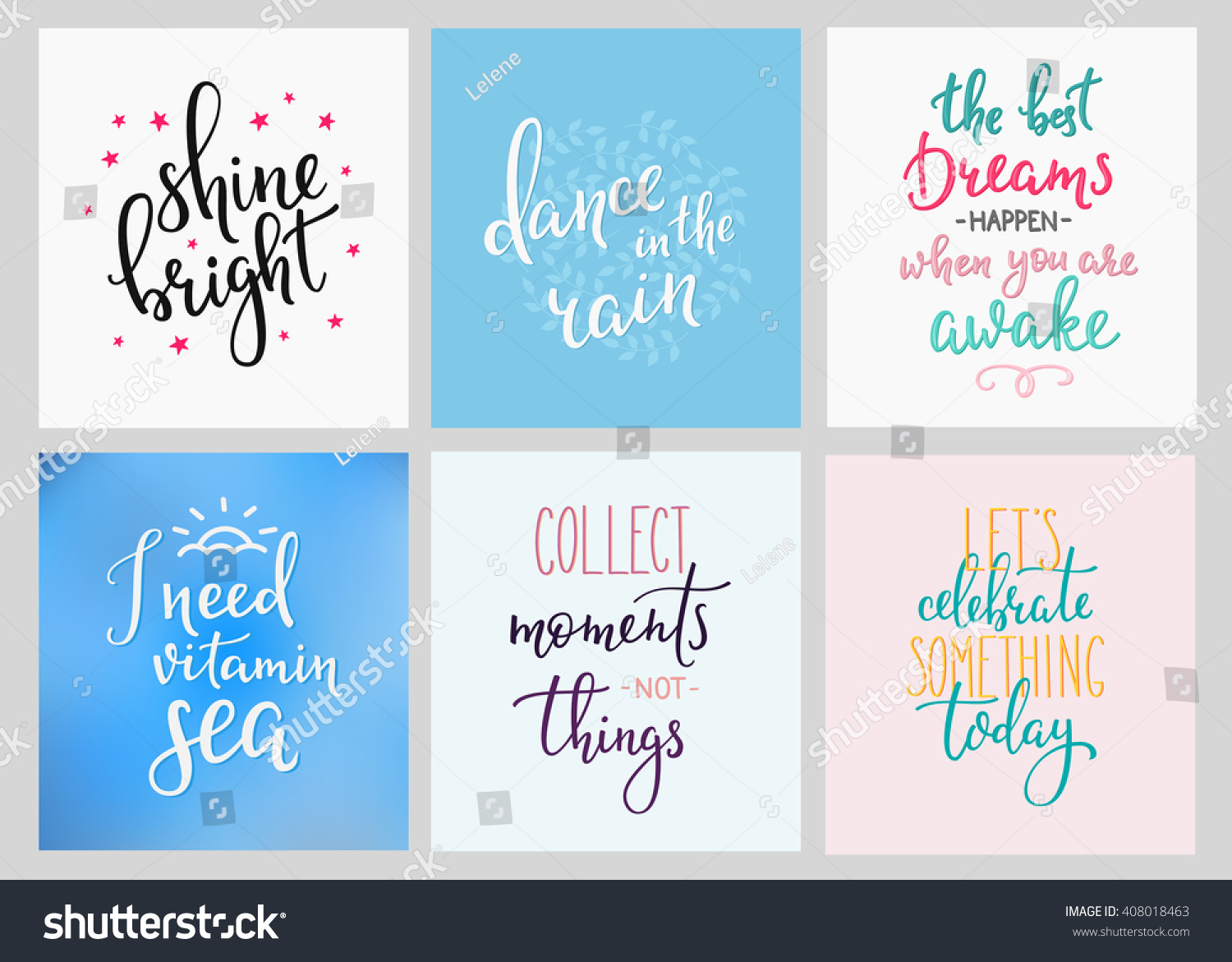 Lettering Vector Postcard Quotes Set Motivational Stock Vector