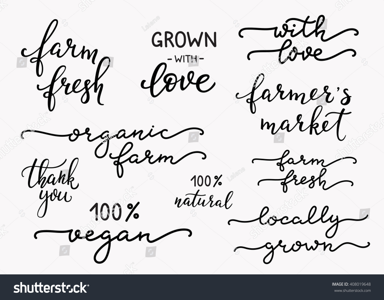 Hand Written Calligraphy Style Organic Farm Stock Vector