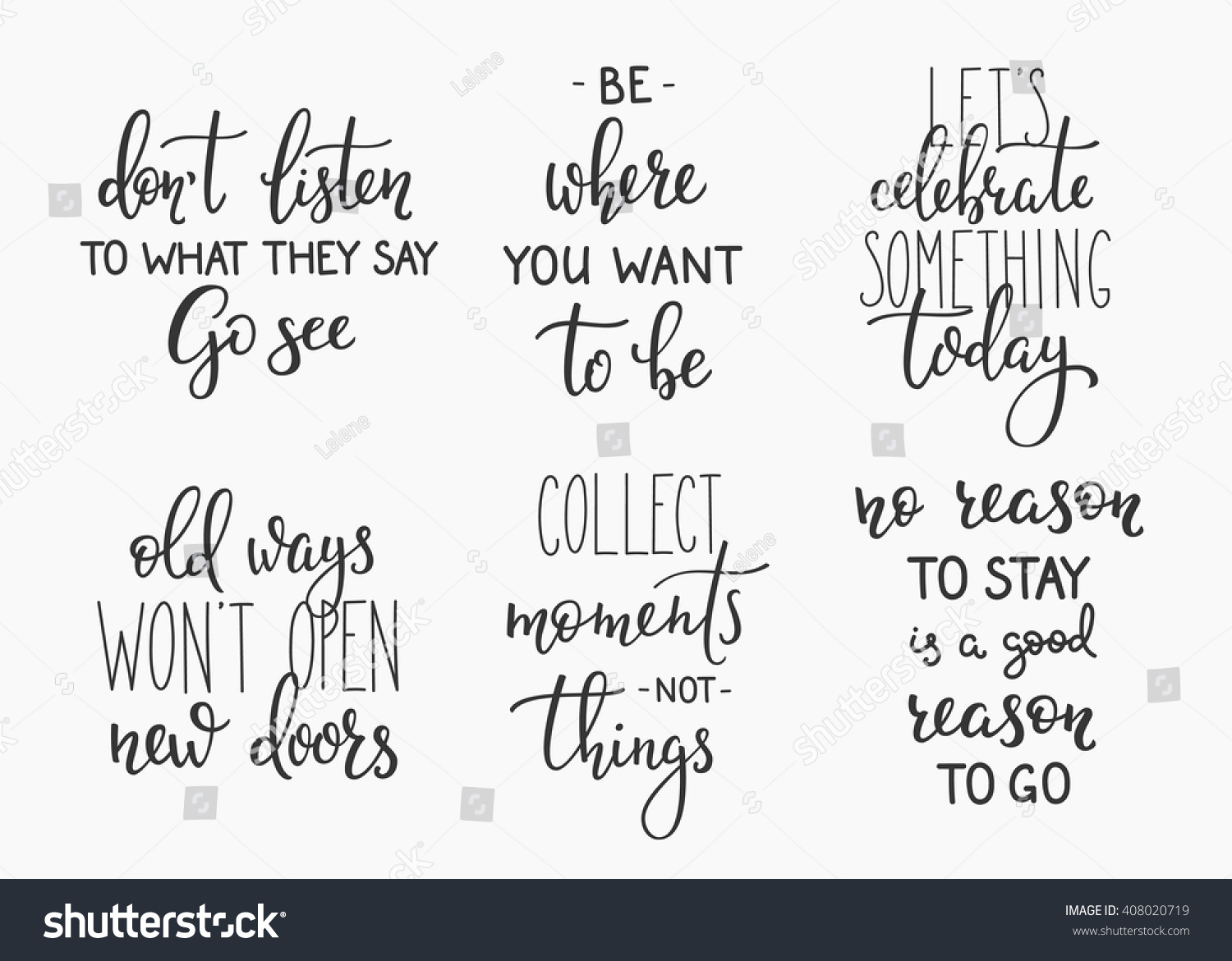 Celebrate Life Quotes Travel Life Style Inspiration Quotes Lettering Stock Vector