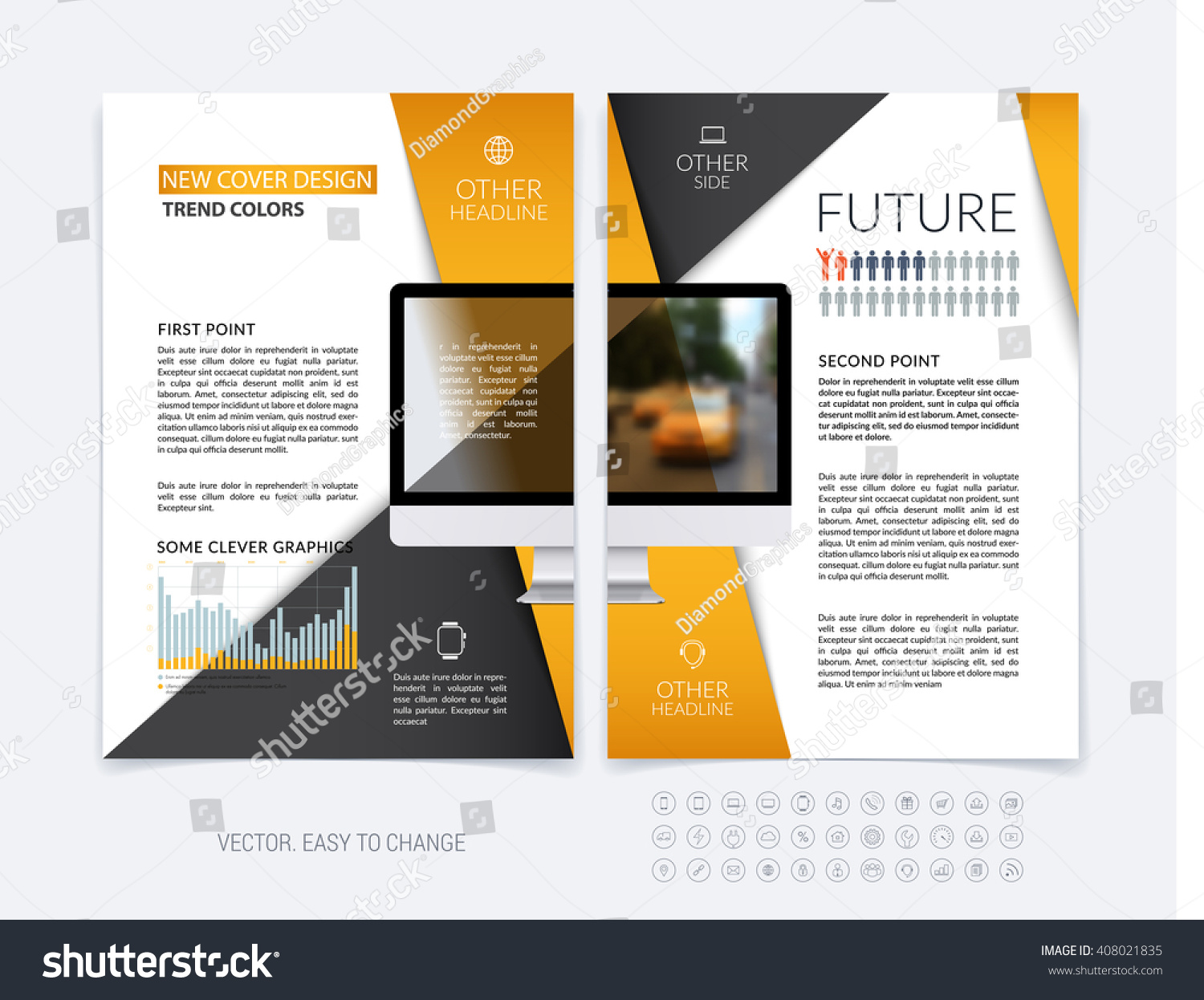 business brochure template layout abstract flyer stock vector