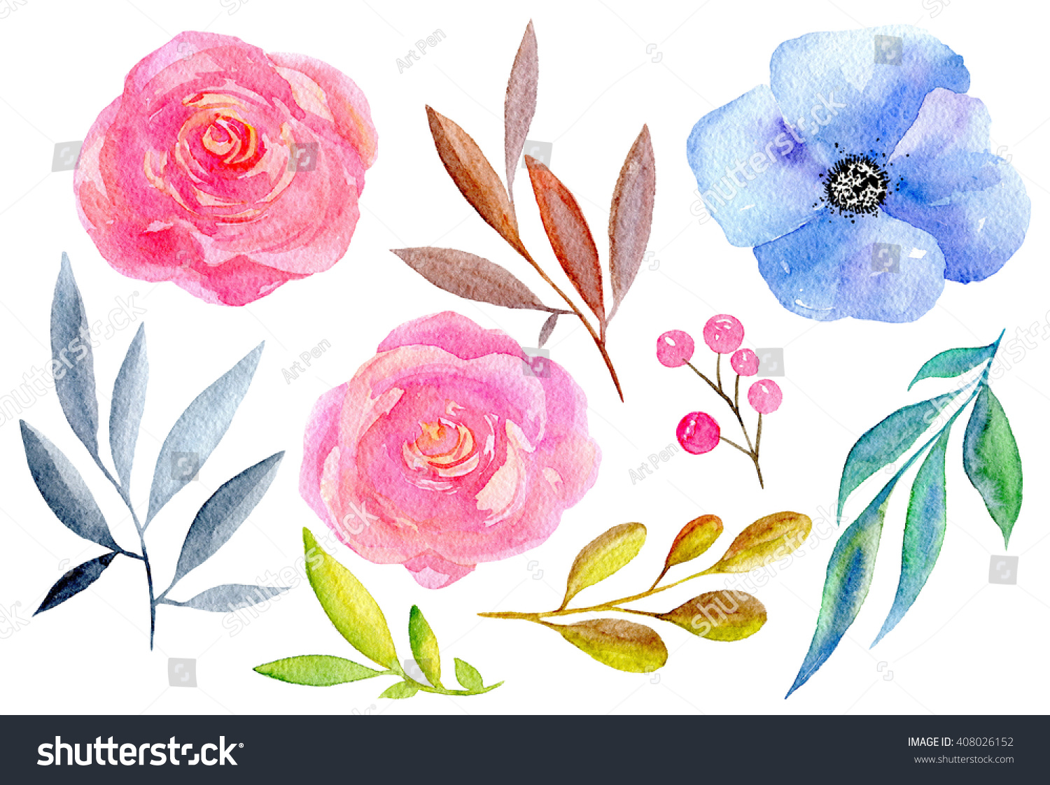 Watercolor Flowers Hand Painted Set Pink Stock Illustration