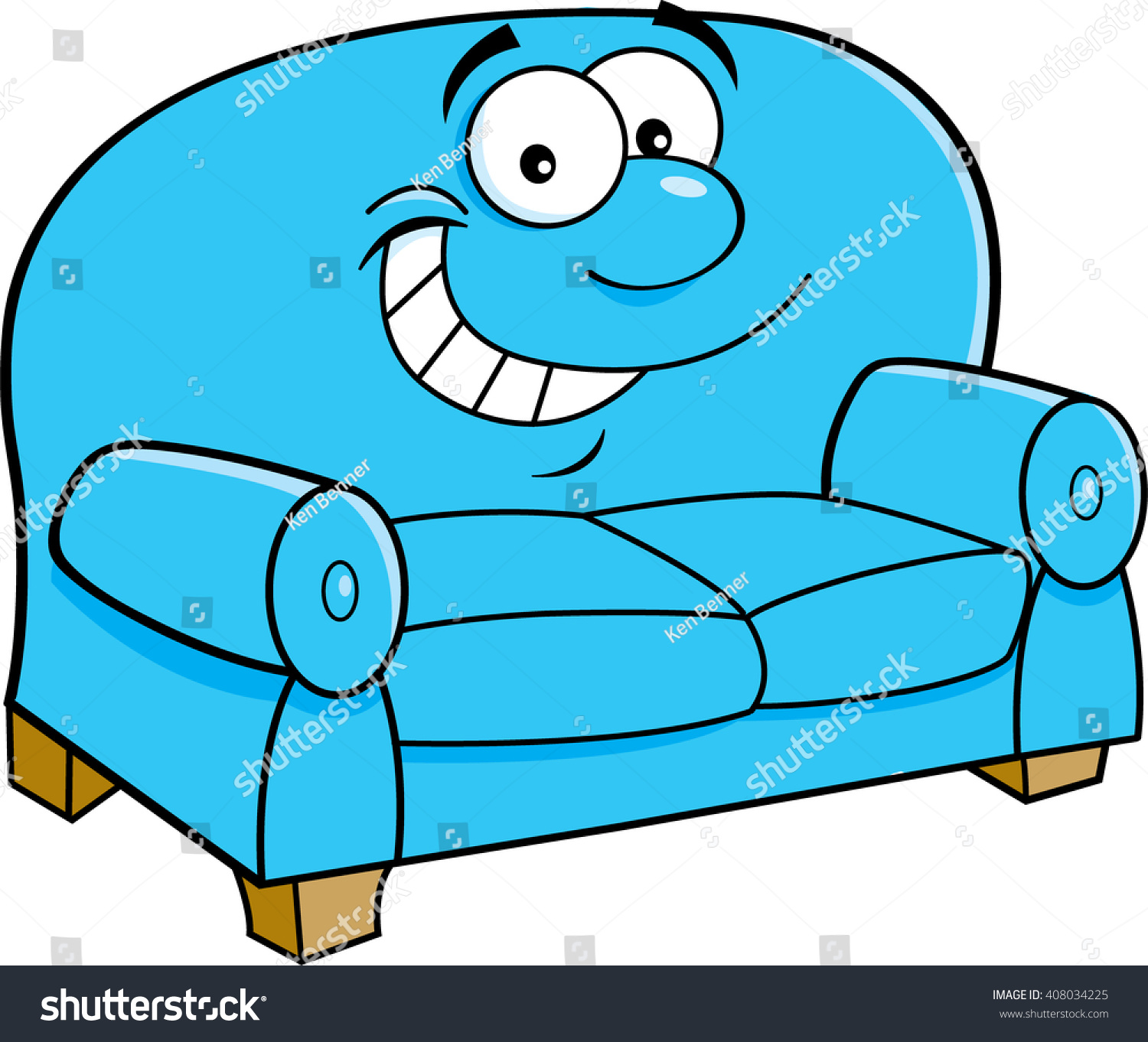 Cartoon Illustration Of A Smiling Couch.
