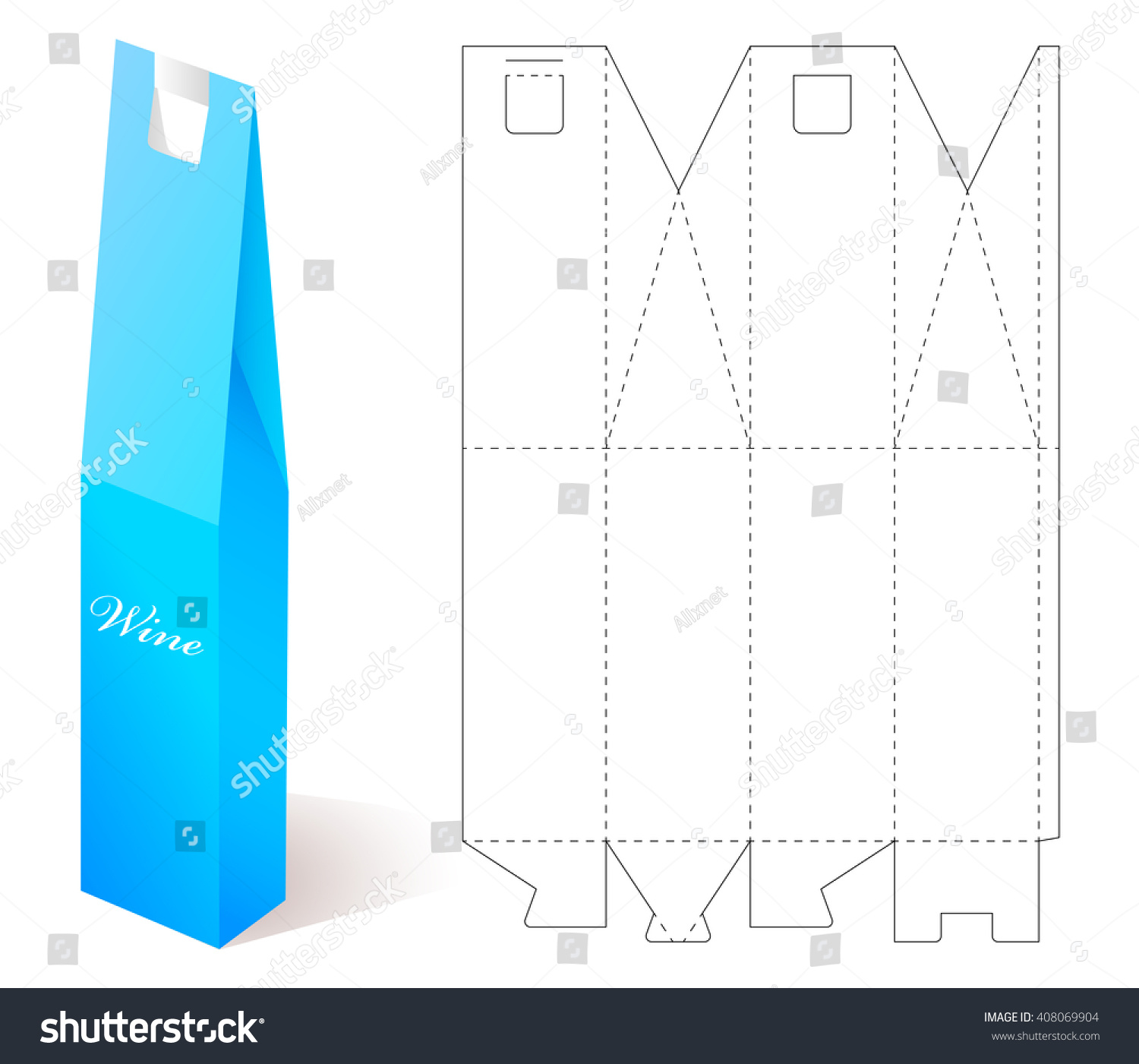 Box mock up wine paper blueprint stock vector 408069904 shutterstock wine paper blueprint template gift craft for design folding malvernweather Images