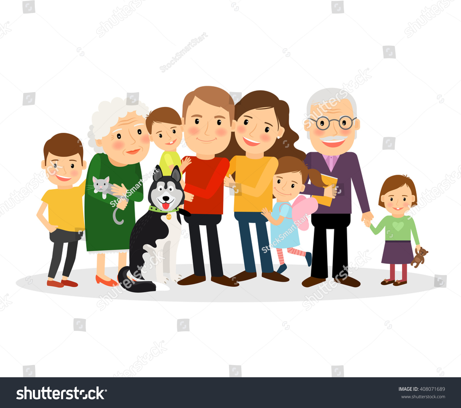 Cartoon Family Portrait Big Family Together Vector