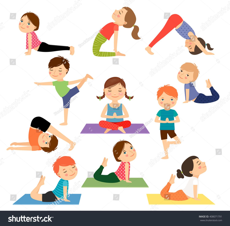 Children Yoga Kids Doing Yoga Different Stock Vector