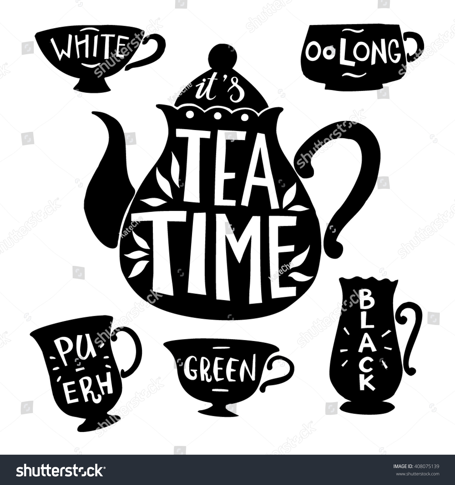 Quote It Tea Pot Silhouette Quote Tea Time Stock Vector 408075139