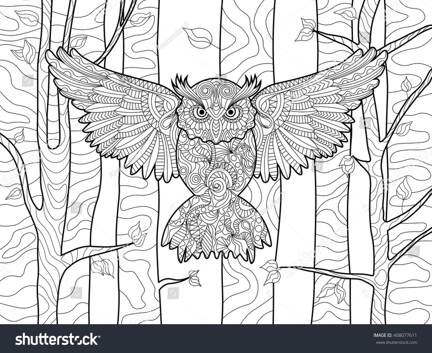 Owl In The Forest Bird Coloring Book For Adults Vector Illustration Anti Stress