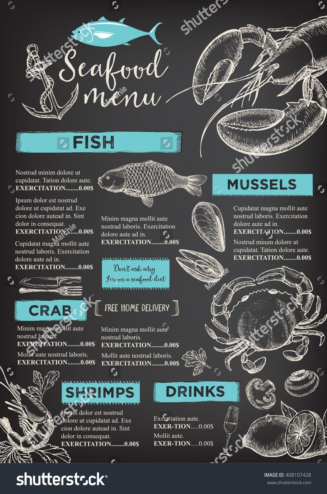 Seafood restaurant brochure menu design vector stock