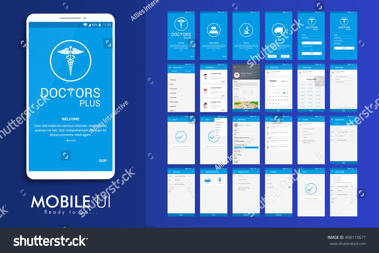 Calendar Booking Ui : Material design ui ux gui screens stock vector