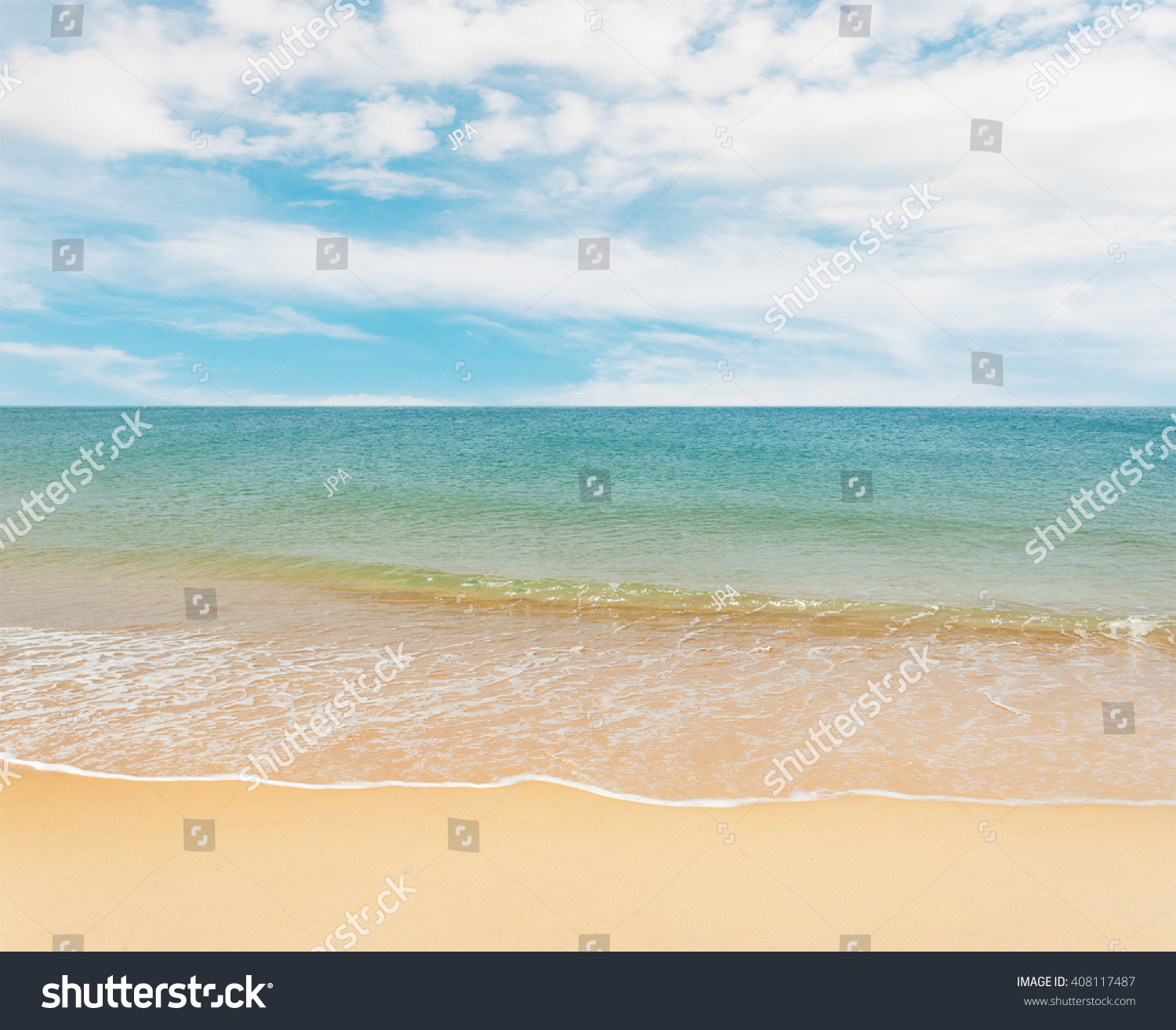 Sand Beach In Summer Sky Background: Blue Sea White Sand Beach On Stock Photo 408117487