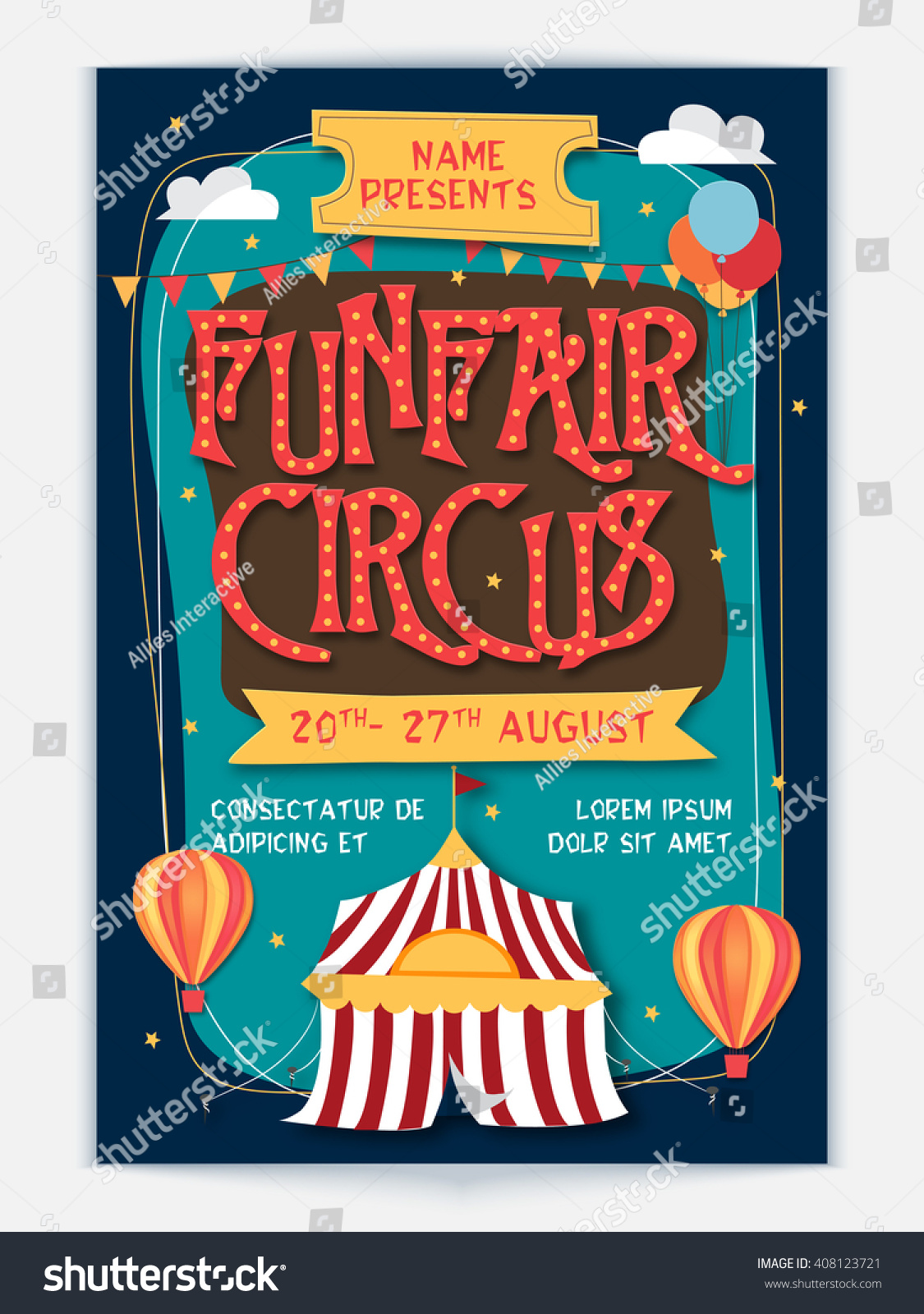 Funfair Circus Template Banner Flyer Design Stock Vector Royalty