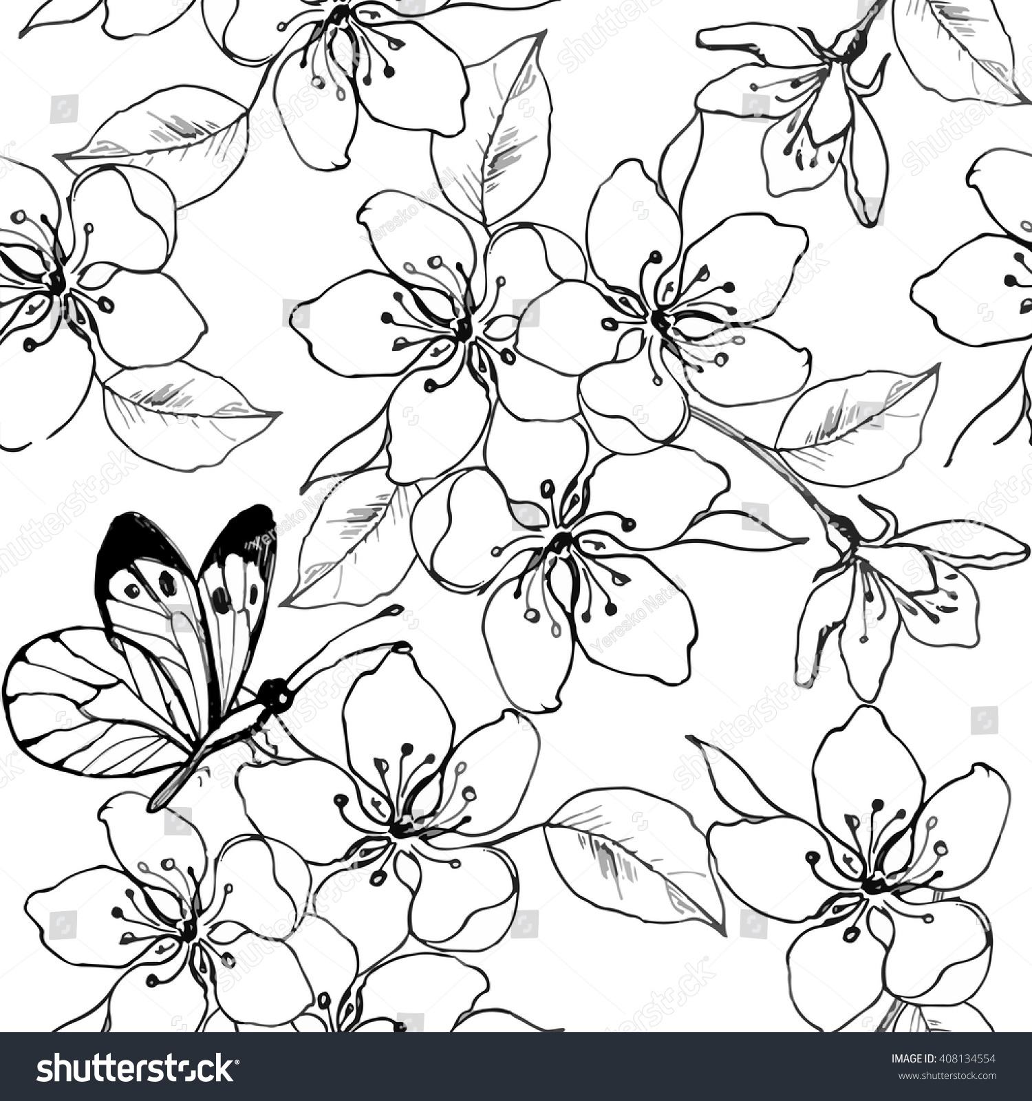 hand drawn branch of cherry blossom pear apple tree with butterfly vector seamless - Cherry Blossom Tree Coloring Pages