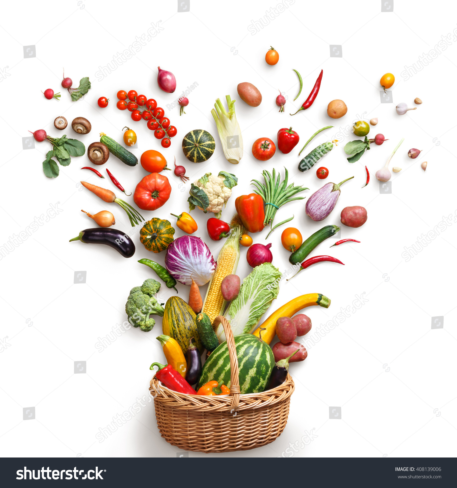 Healthy food in basket. Studio photography of different fruits and vegetables isoleted on white backdrop, top view. High resolution product. #408139006