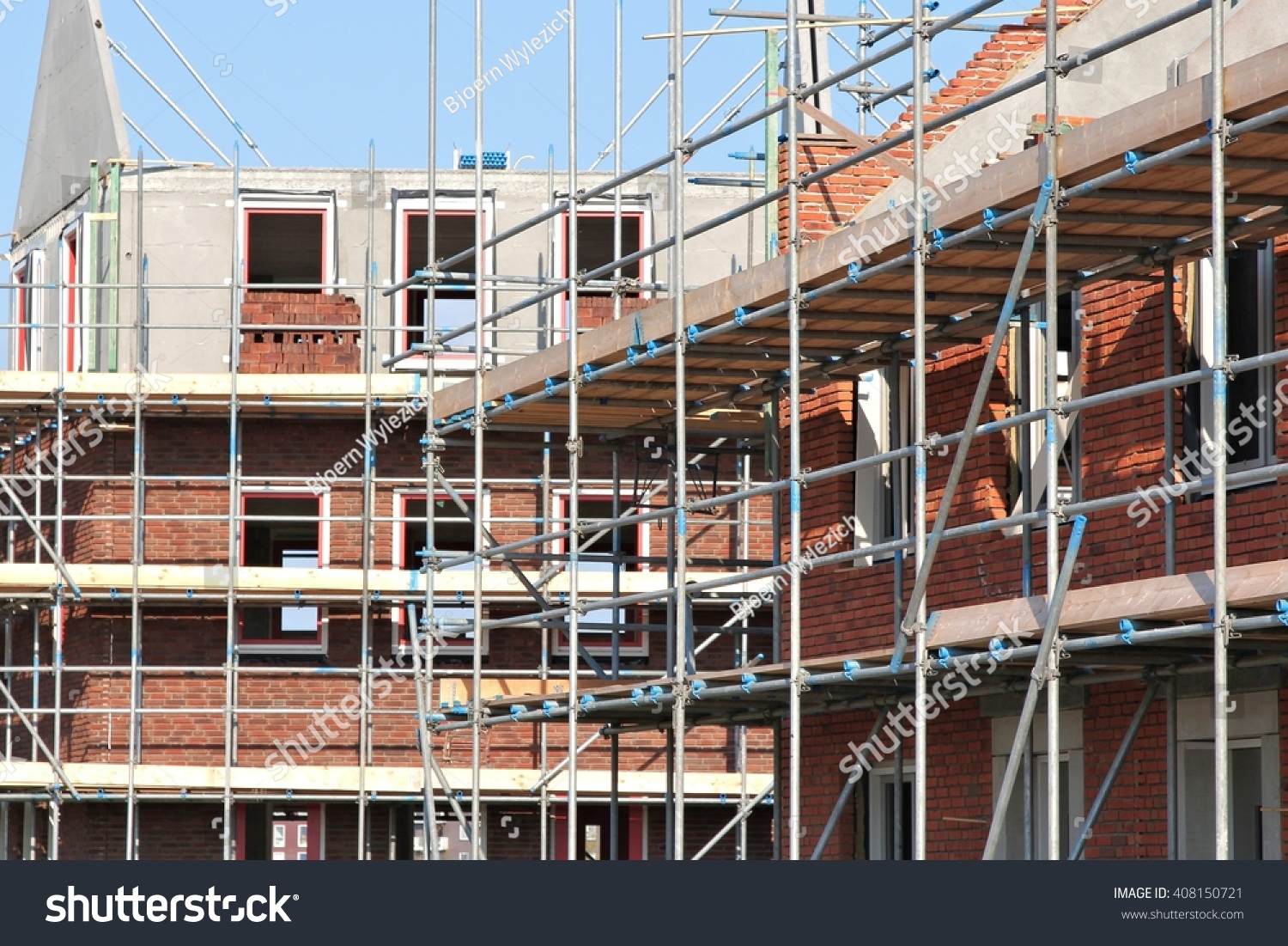 scaffolding at a residential building currently under construction