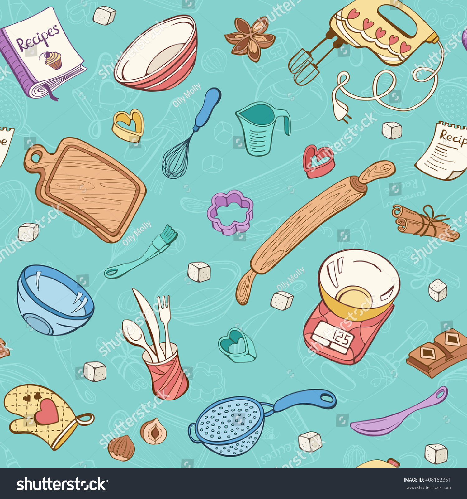 Baking Doodle Background Vector Seamless Pattern Stock Vector ...
