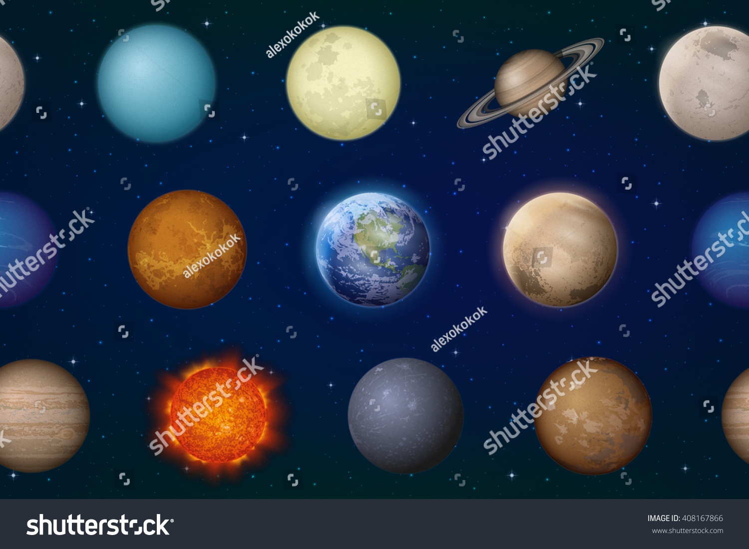 Space Seamless Background With Solar System Planets Sun ...