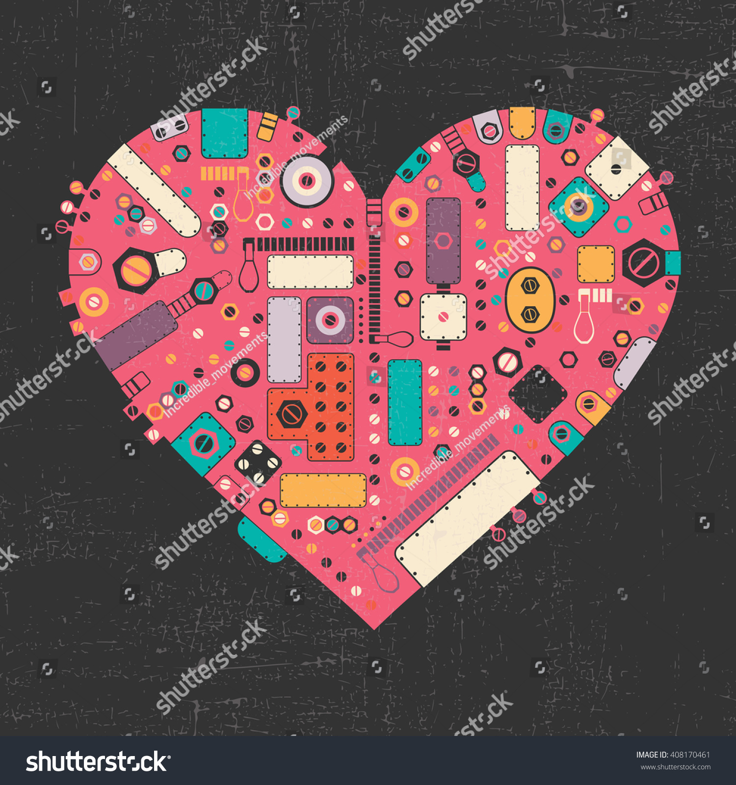 Pink steam punk heart with different color element shapes on black grunge background Vector illustration