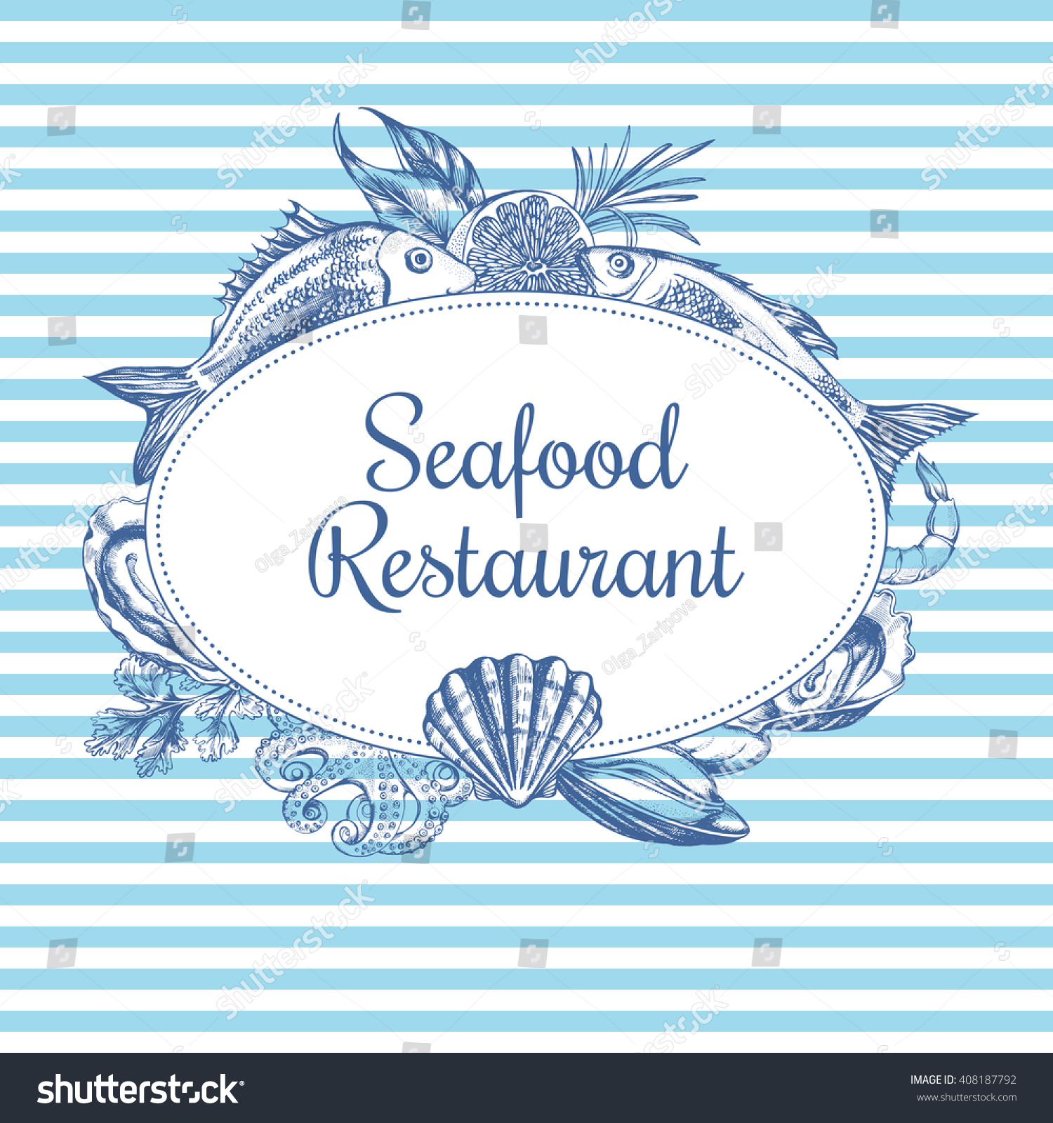 Composition fish seafood on striped background stock