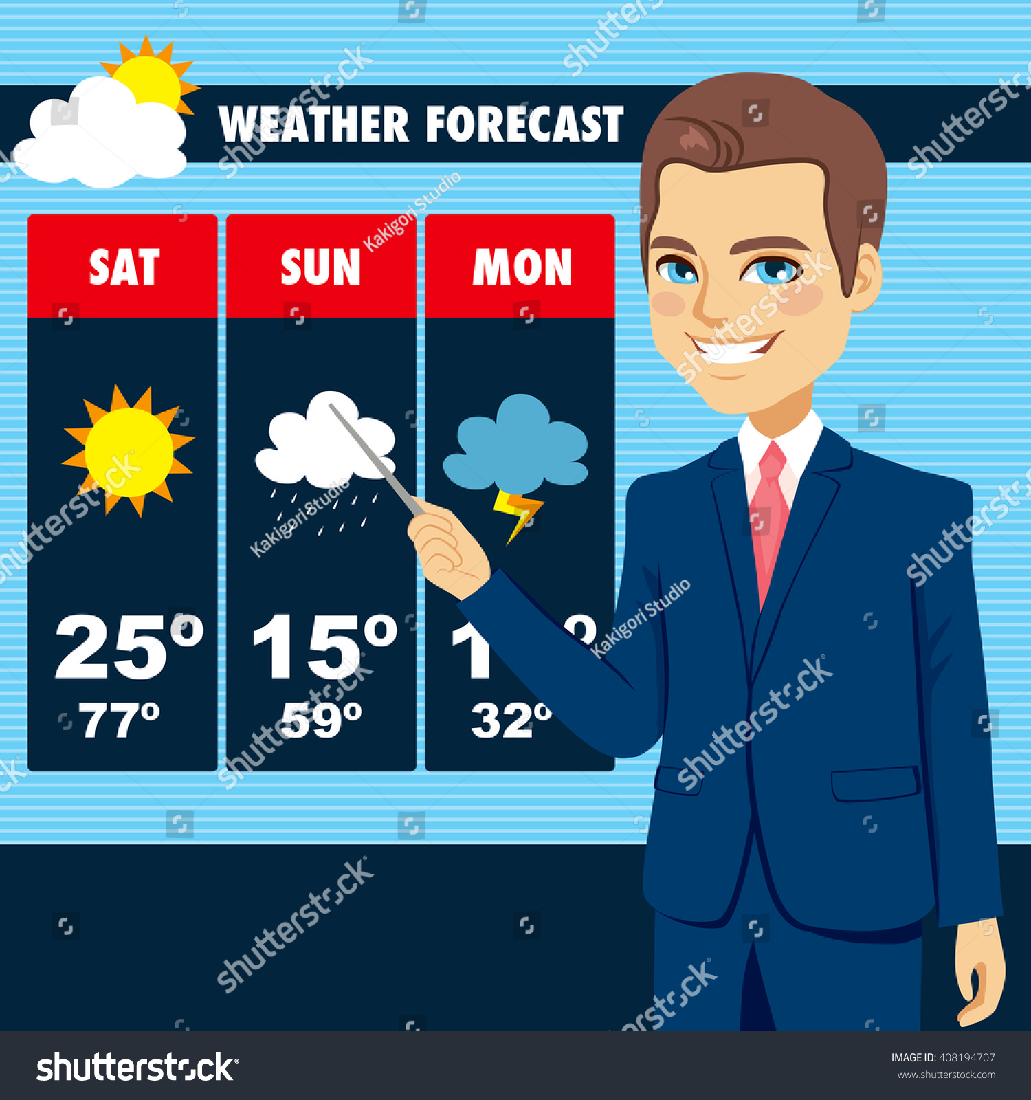 attractive young tv news weather reporter stock vector