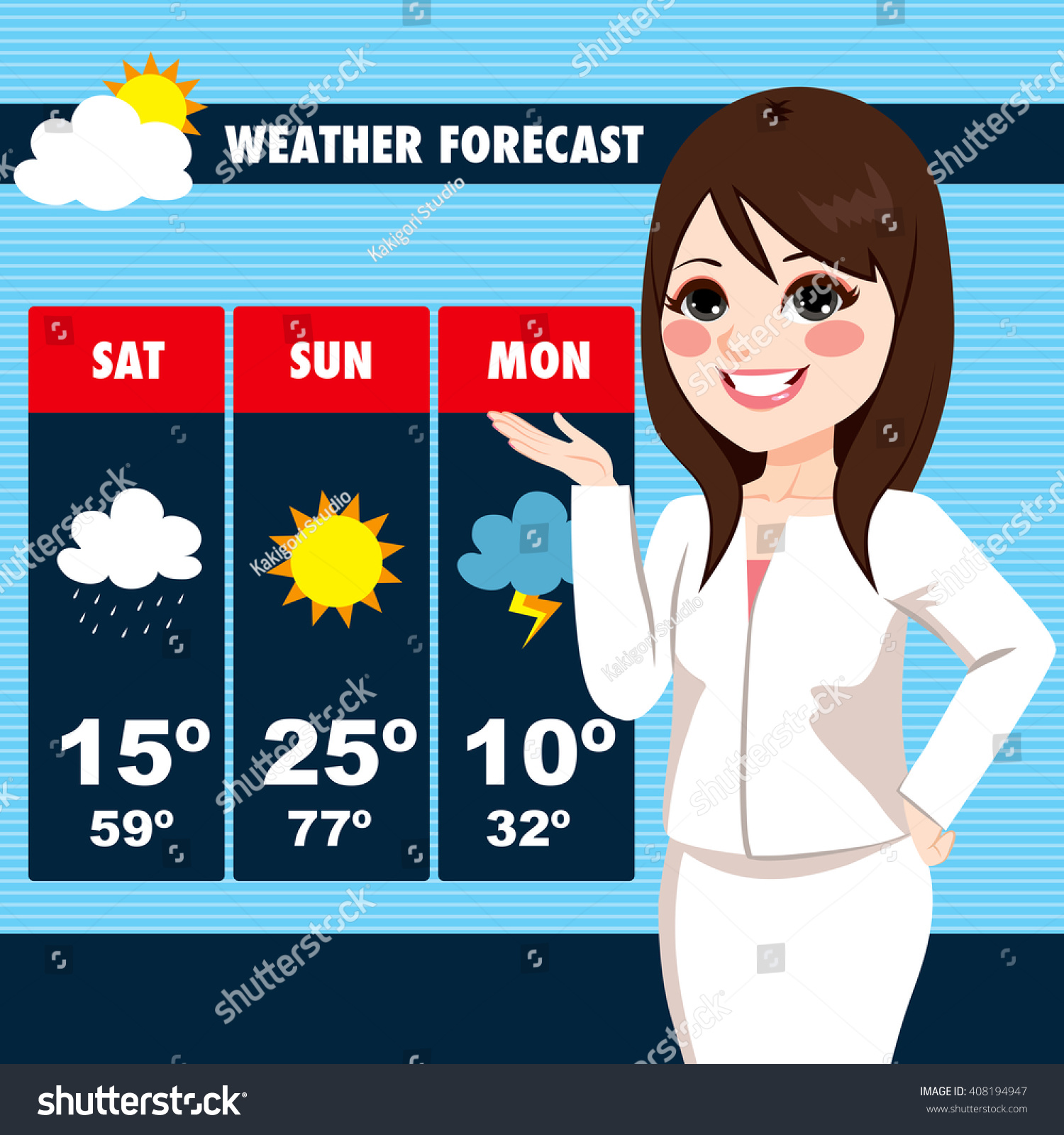 beautiful young tv news weather reporter stock vector