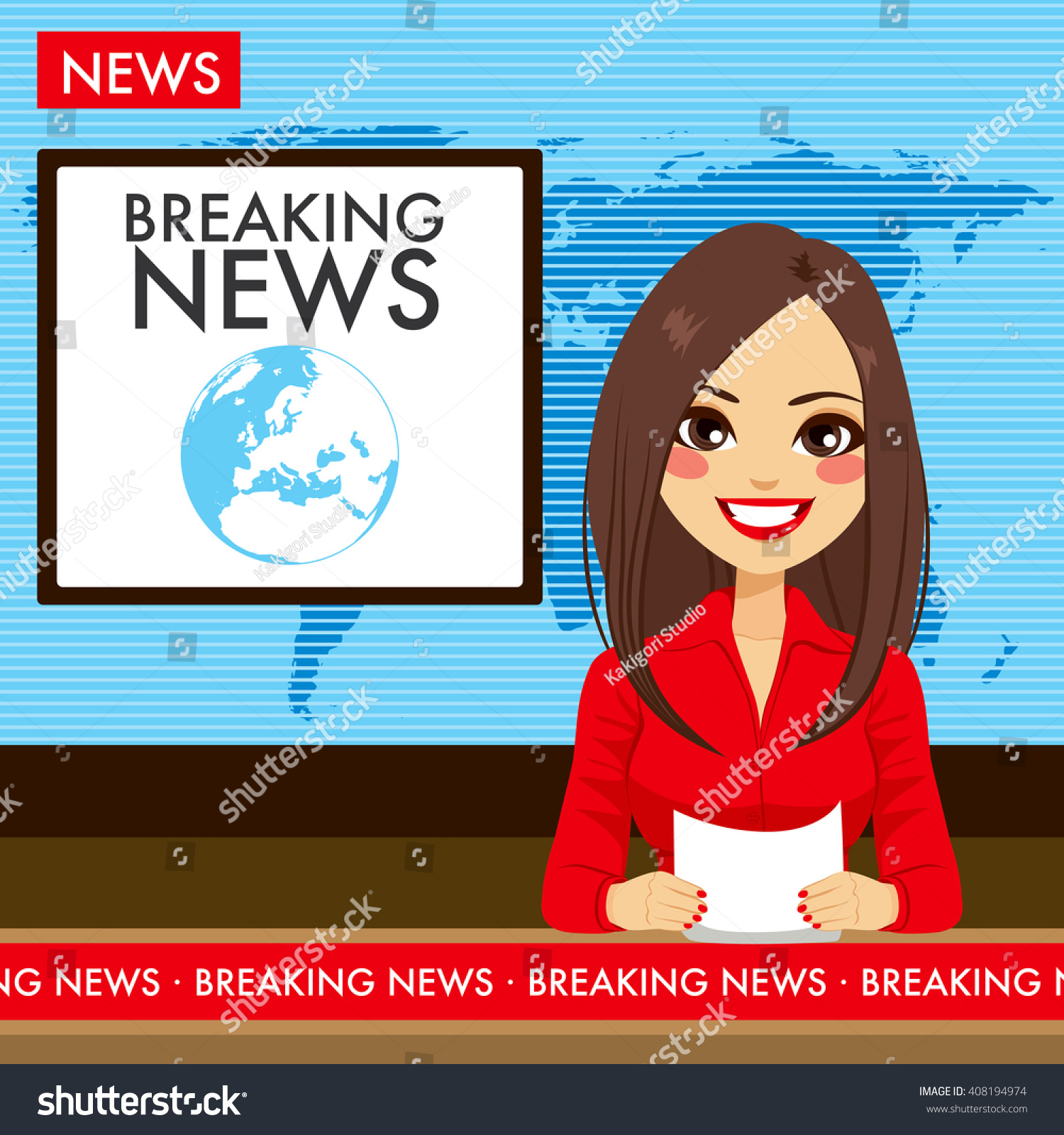 Denver Ktla News: Beautiful Young Tv Newscaster Woman Reporting Stock Vector
