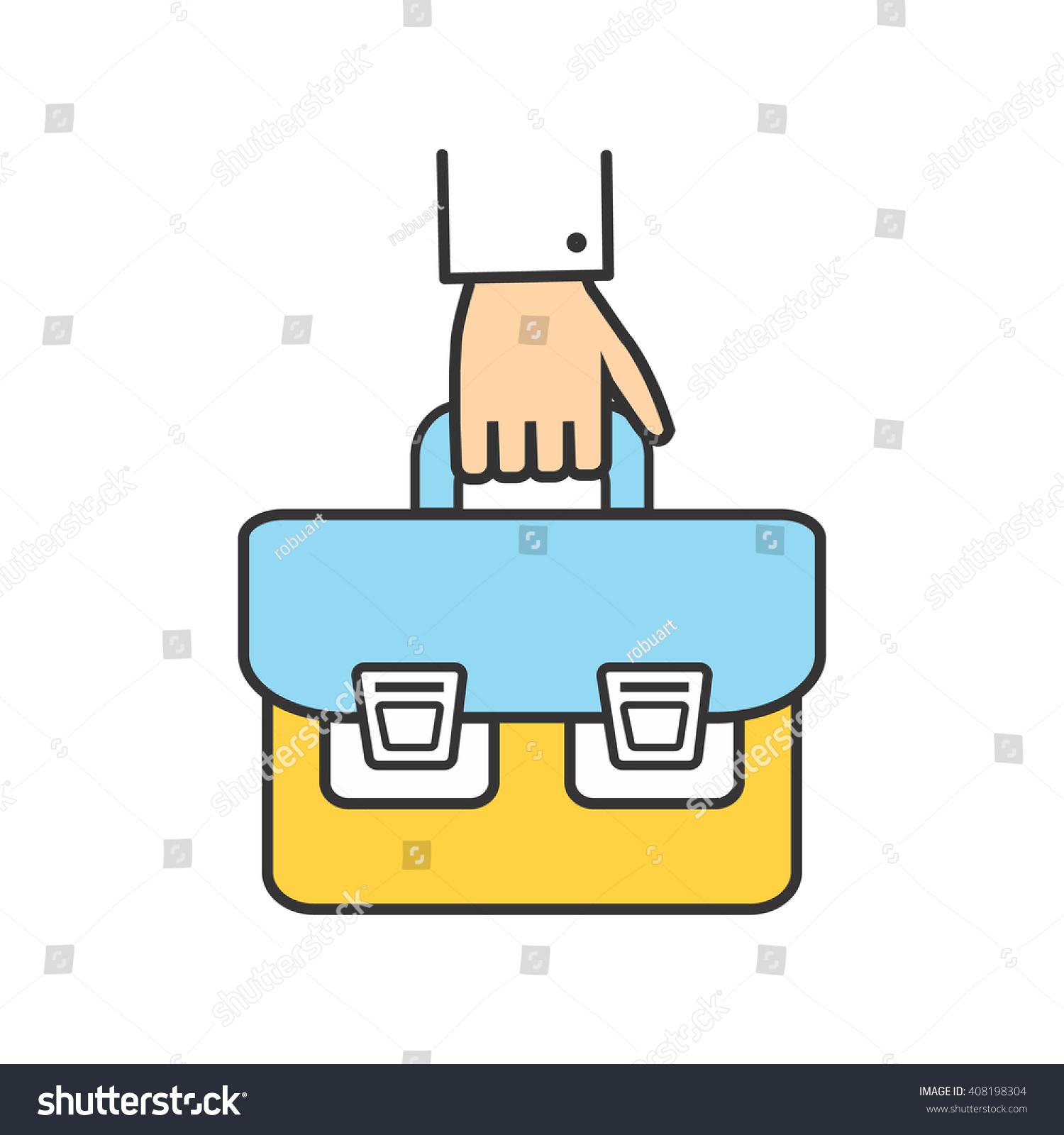 School bag diagram - Hand Briefcase Logo Icon Success Businessman Bag Office Man With Briefcase In Hand