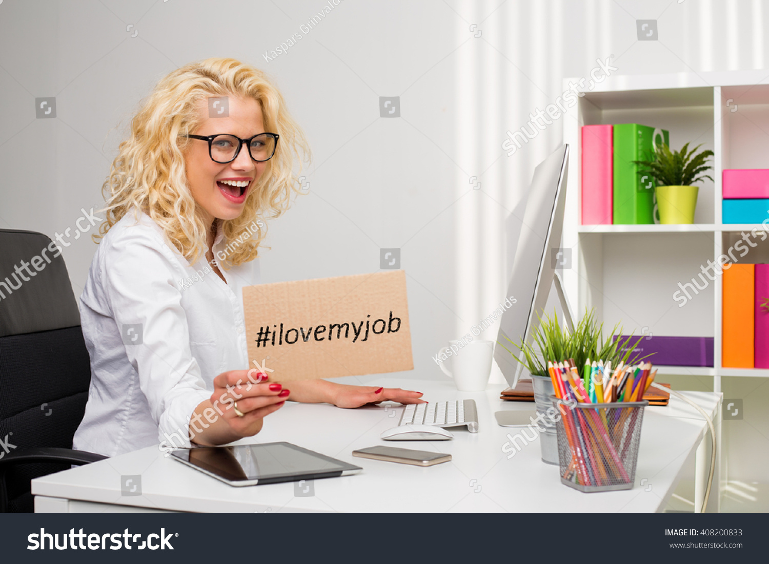 Woman Office Showing I Love My Stock Photo 408200833 Shutterstock
