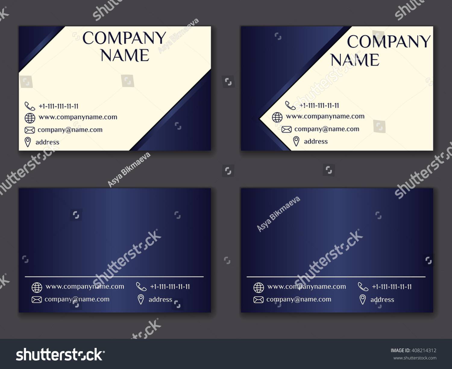 Vector Vintage Business Card Set Beauty Stock Vector 408214312 ...