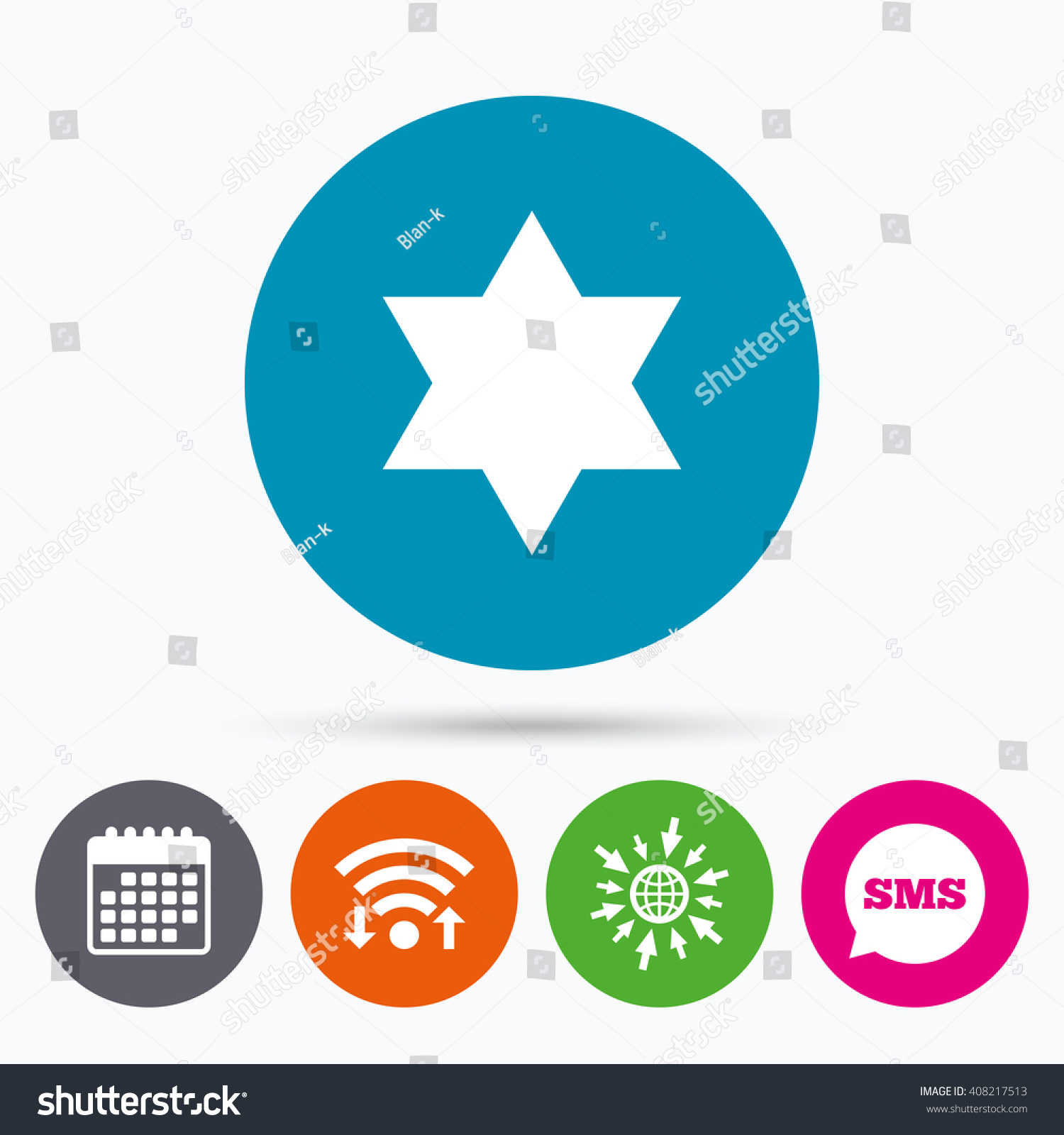 Wifi Sms Calendar Icons Star David Stock Vector 408217513 Shutterstock
