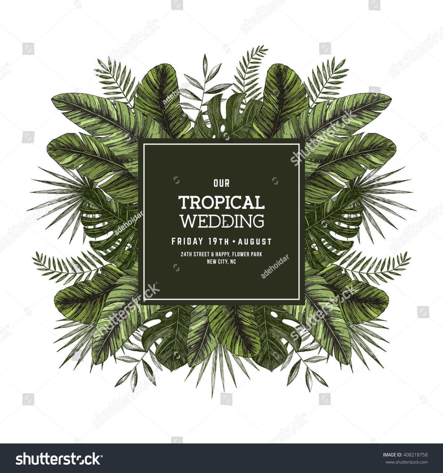 Tropical palm leaves wedding invitation template stock for Tropical wedding invitations