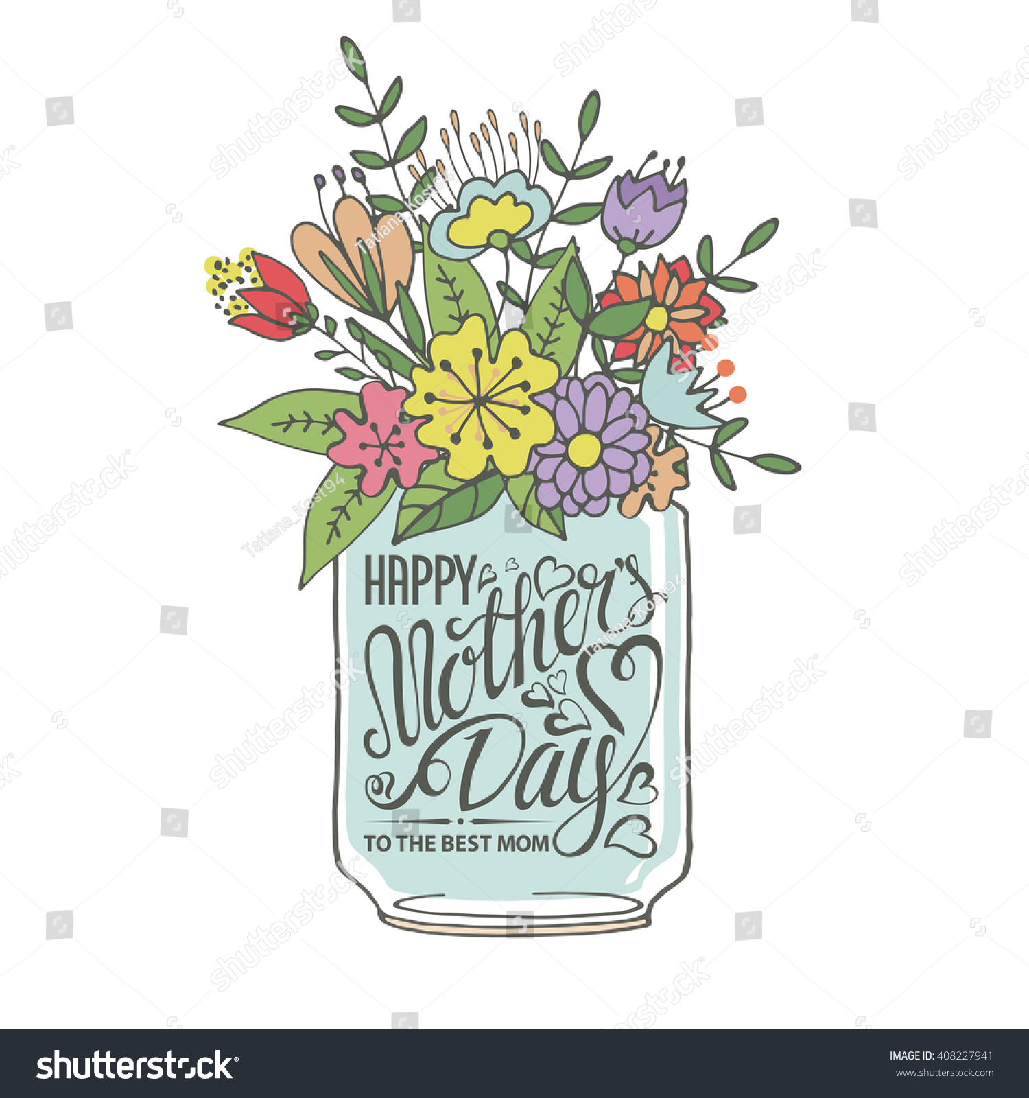 heart flowers mothers day card mothers daytypographic cardlettering heartdoodle flowers 6702
