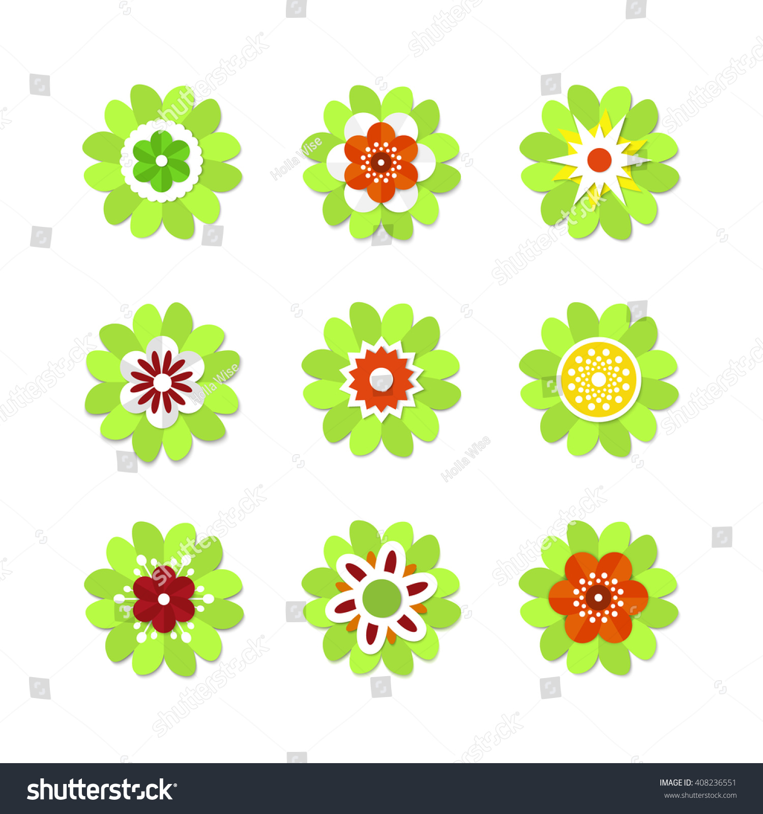 Blooming Flowers Set Of Colorful Spring Flowers Vector Flowers