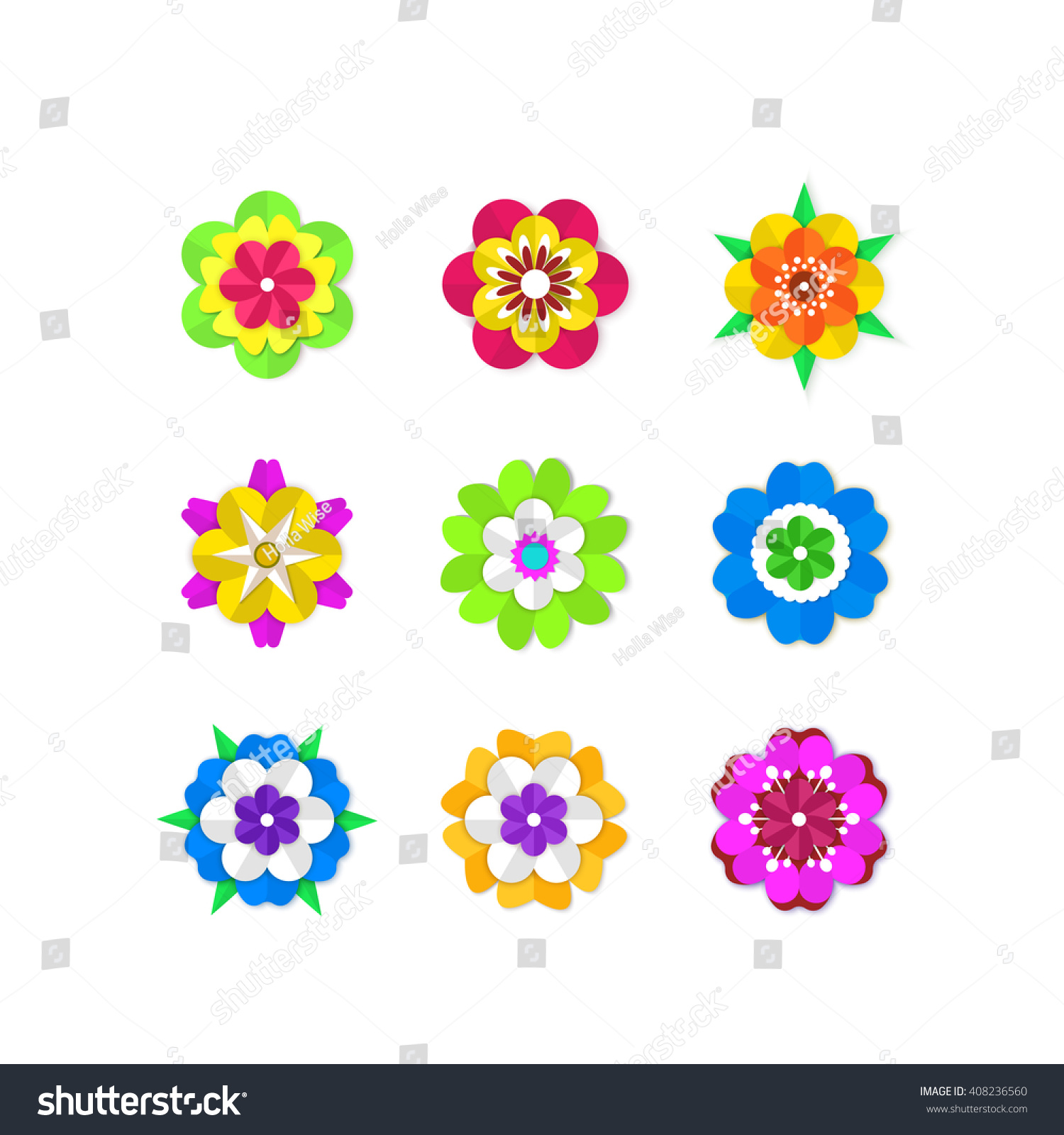 Blooming Flowers Set Colorful Spring Flowers Stock Vector Royalty