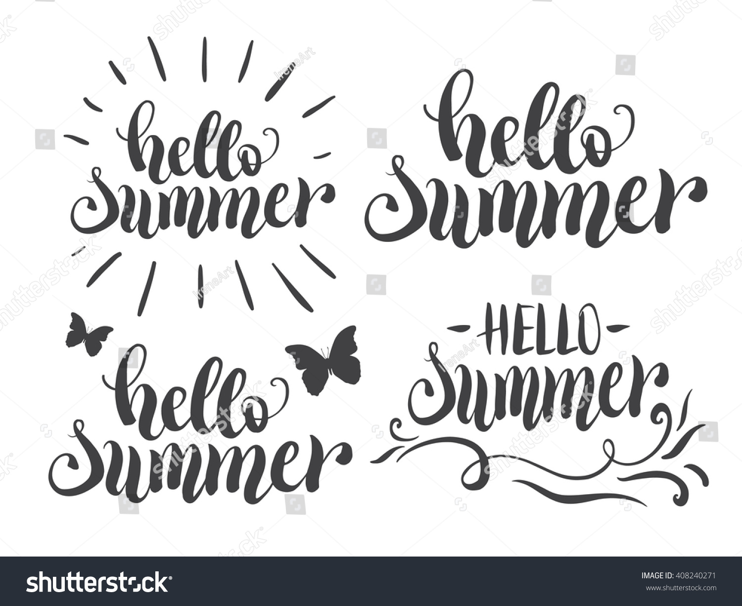 Hello summer hand lettering set typography stock vector