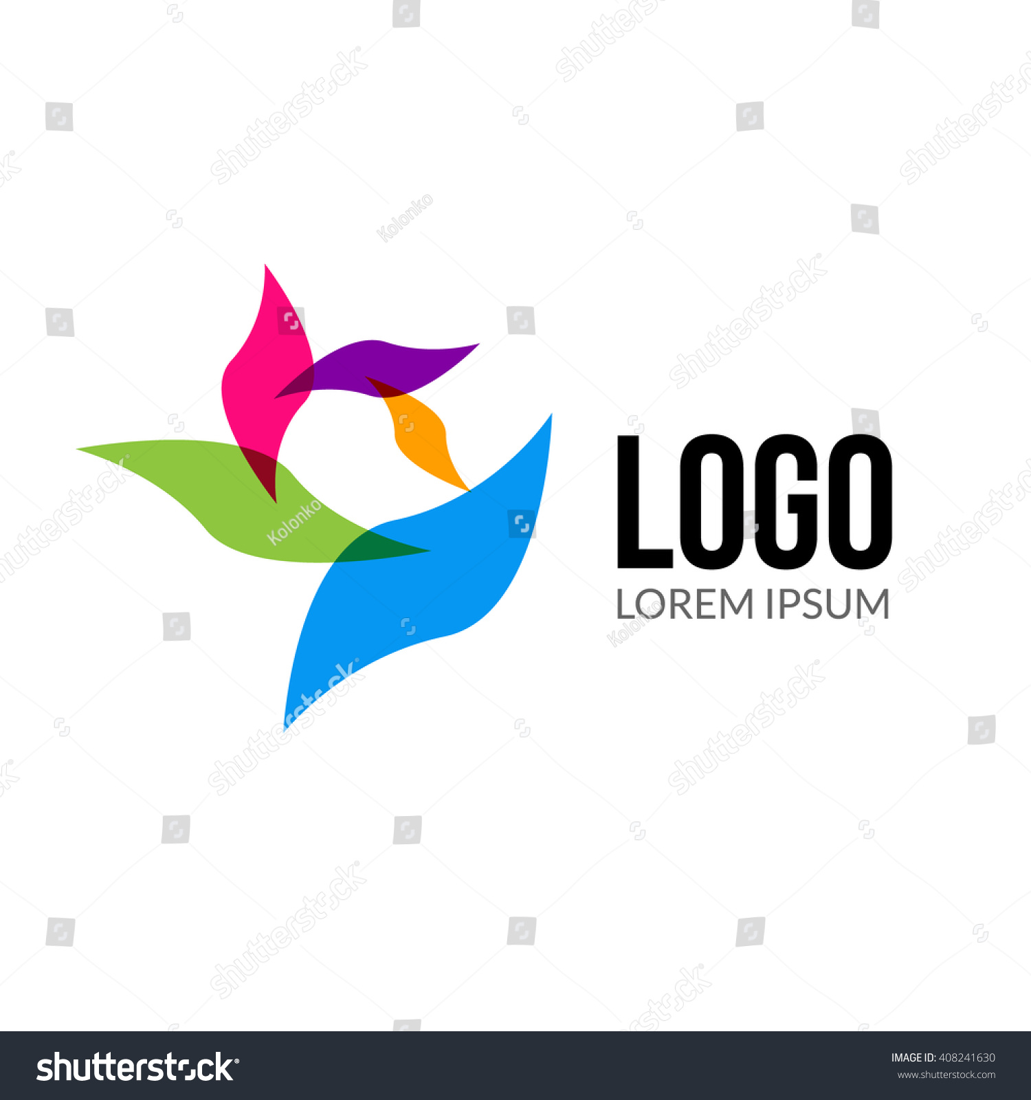 Abstract vector beauty spa salon logo abstract colorful for Abstract beauty salon