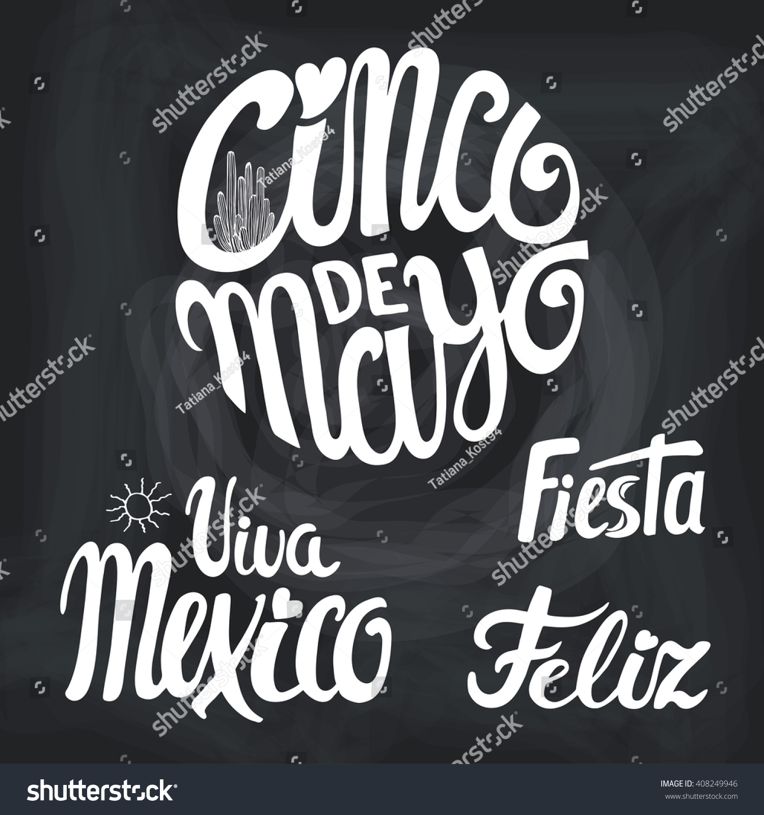Royalty Free Cinco De Mayo Greeting Lettering 408249946 Stock