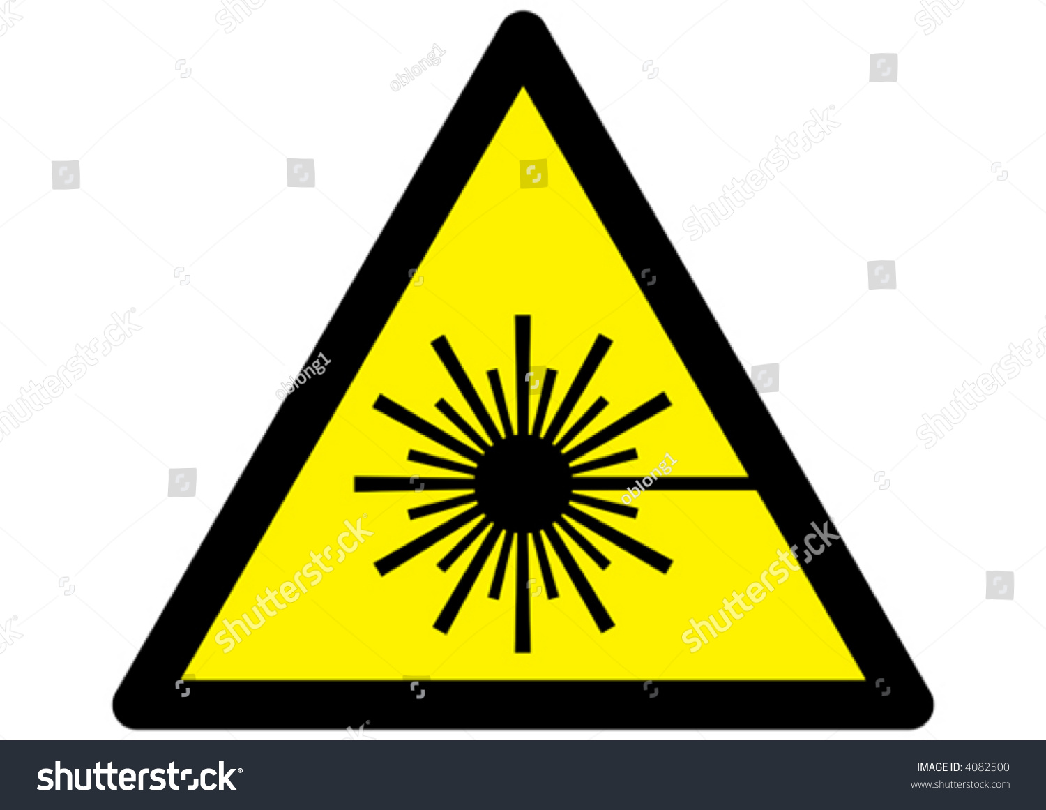 symbol laser warning sign on yellow stock vector 4082500 shutterstock. Black Bedroom Furniture Sets. Home Design Ideas