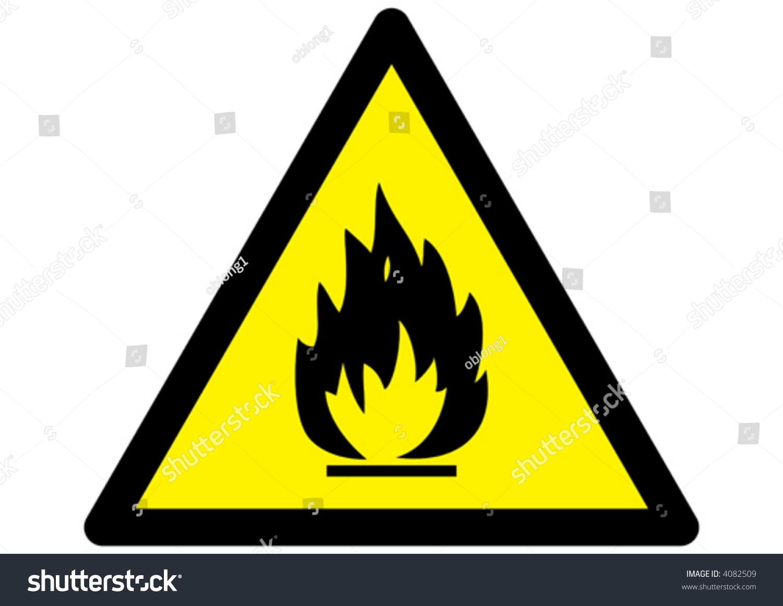 flammable fire hazard warning symbol on stock vector