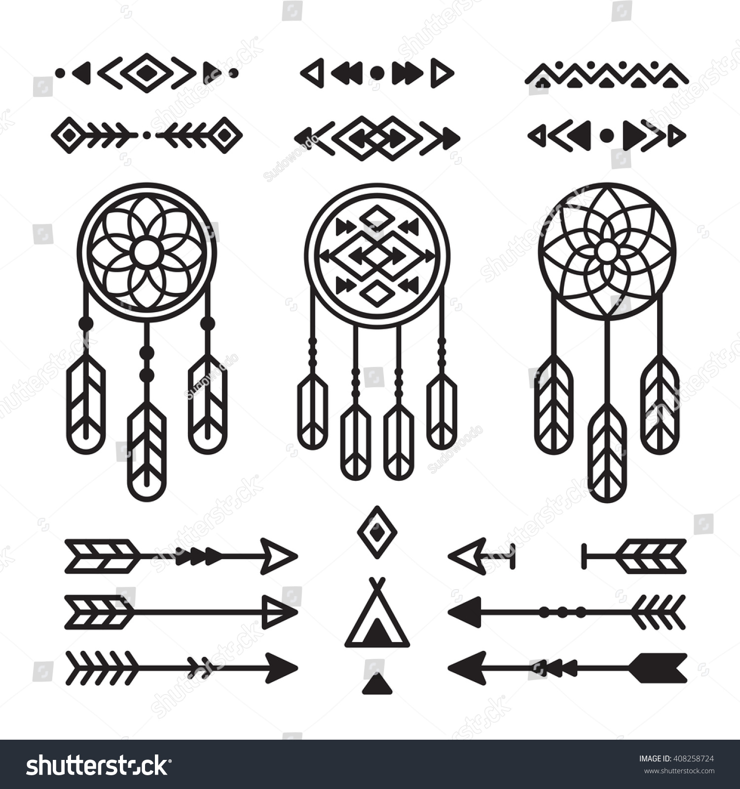 Native american ornaments - Native American Indian Design Elements Set Borders Arrows Dream Catchers Ornaments And