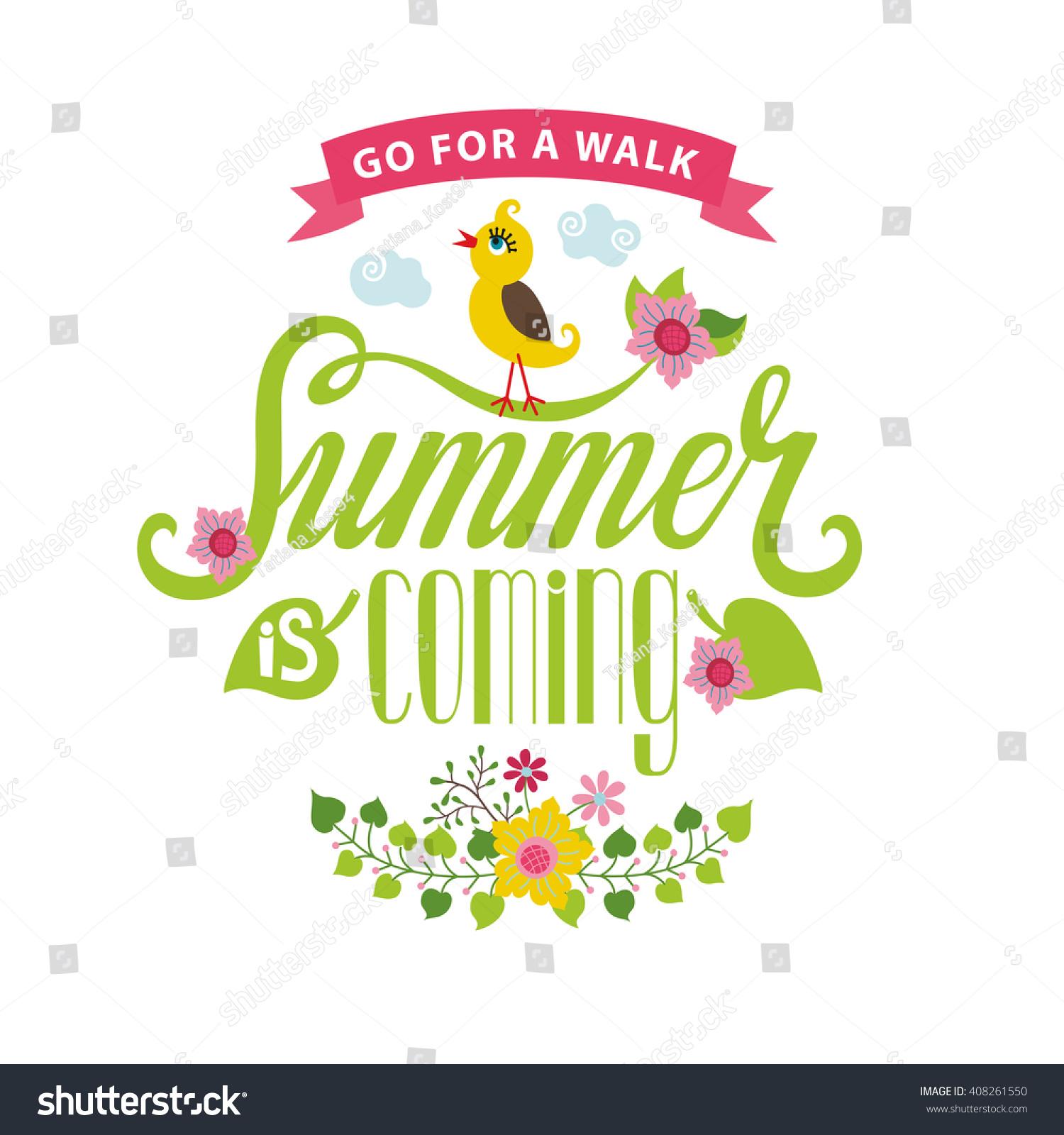 Summer Season Cardposter Vector Title Summer Coming Cartoon Stock
