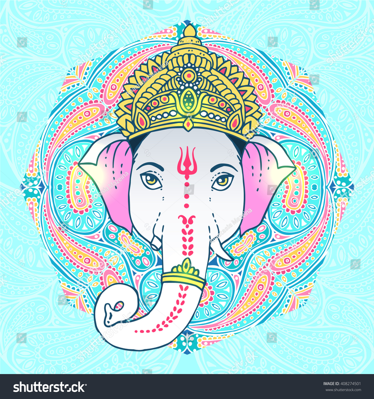 Head Hindu Lord Ganesha with cosmos style background Vector illustration